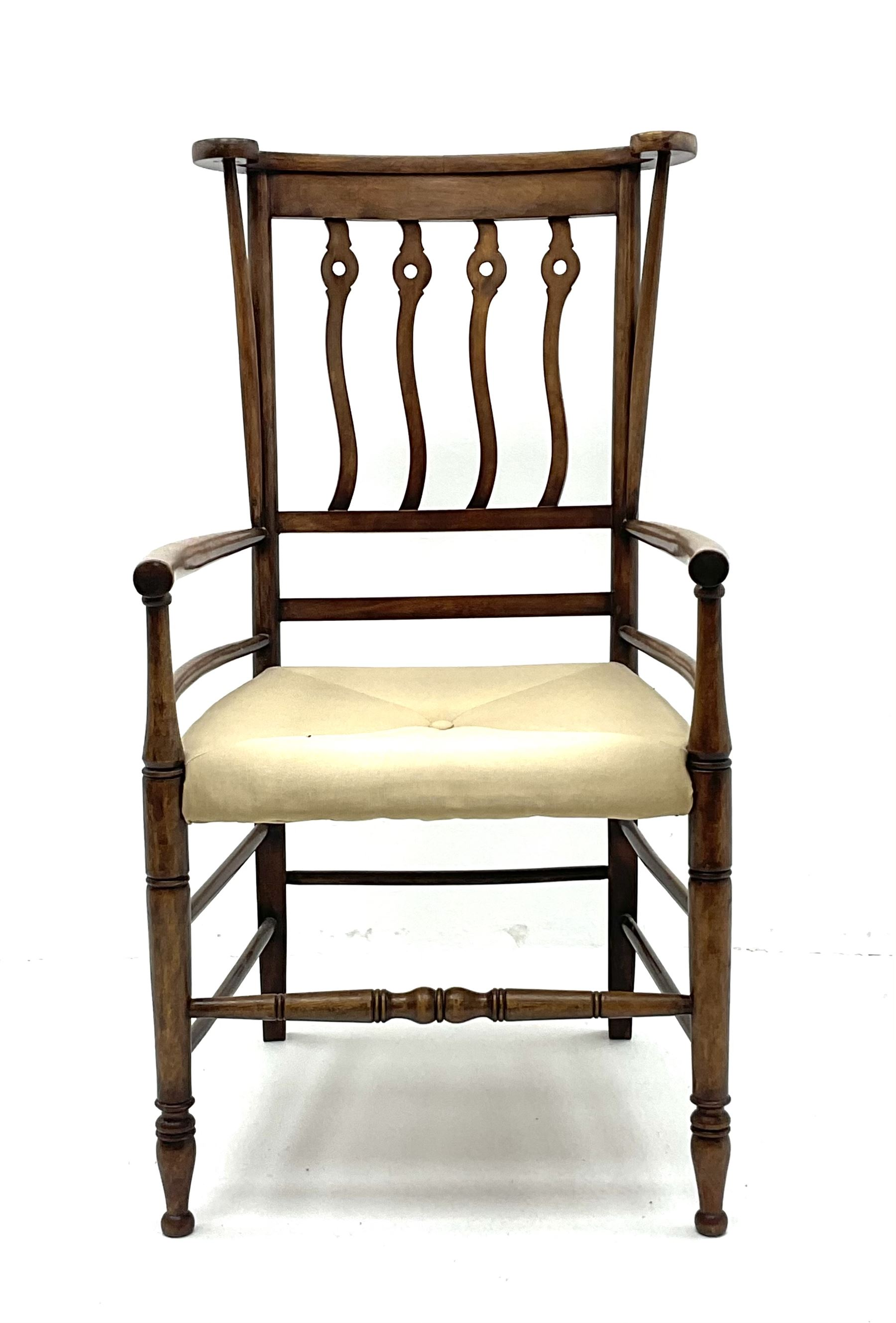Early 20th century Arts and Crafts style fruitwood elbow chair
