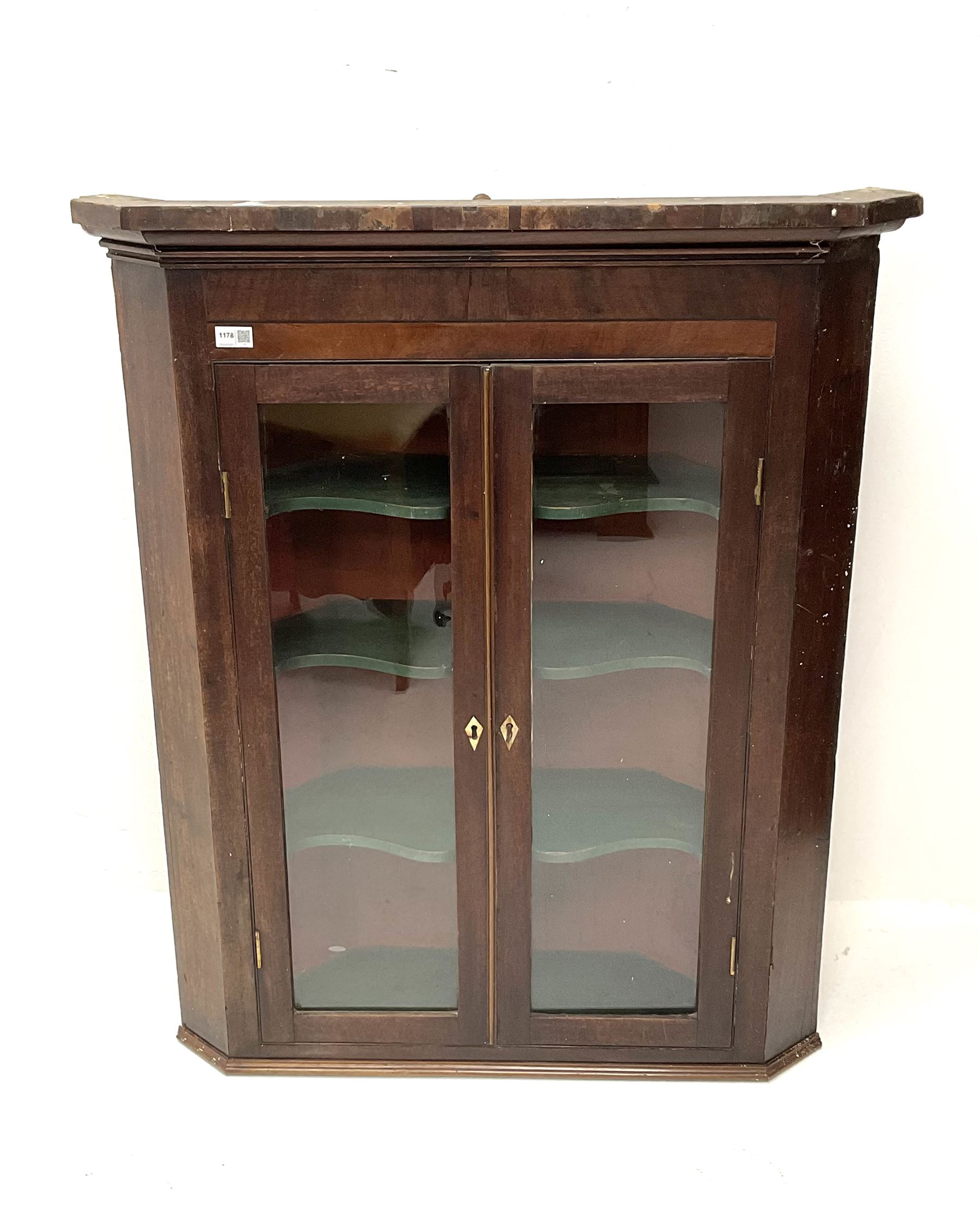 19th century mahogany hanging corner cabinet