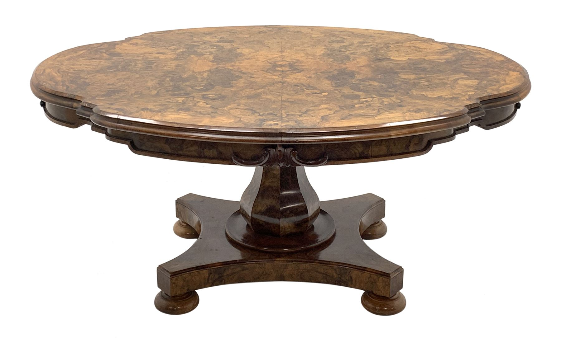 Victorian and later highly figured walnut breakfast table