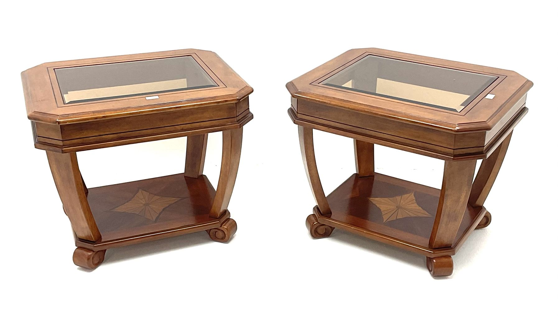 Pair walnut rectangular two tier lamp tables with inset glass tops