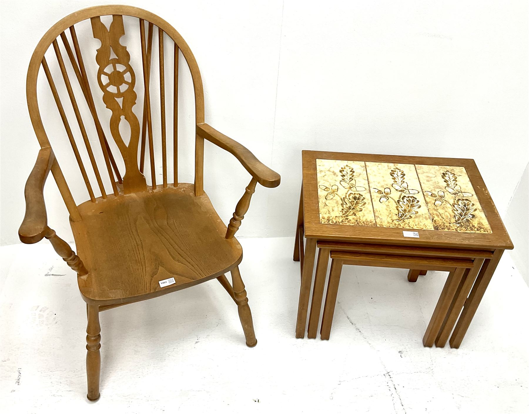 Beech and elm Wheel back carver chair (W60cm) and nest of tiled tables (2) - Image 2 of 2