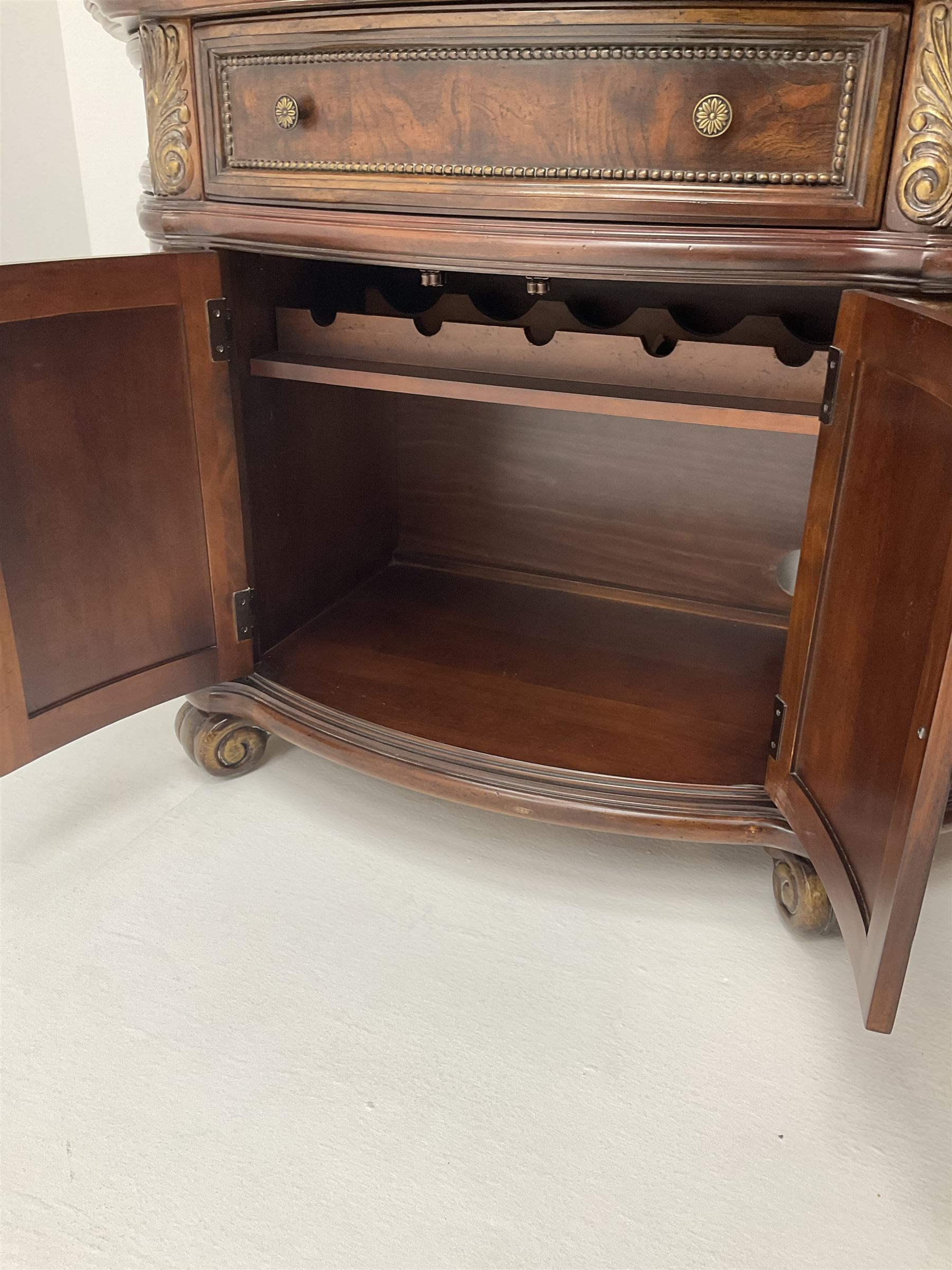 Kevin Charles American walnut demi lune display cabinet with illuminated interior - Image 8 of 13