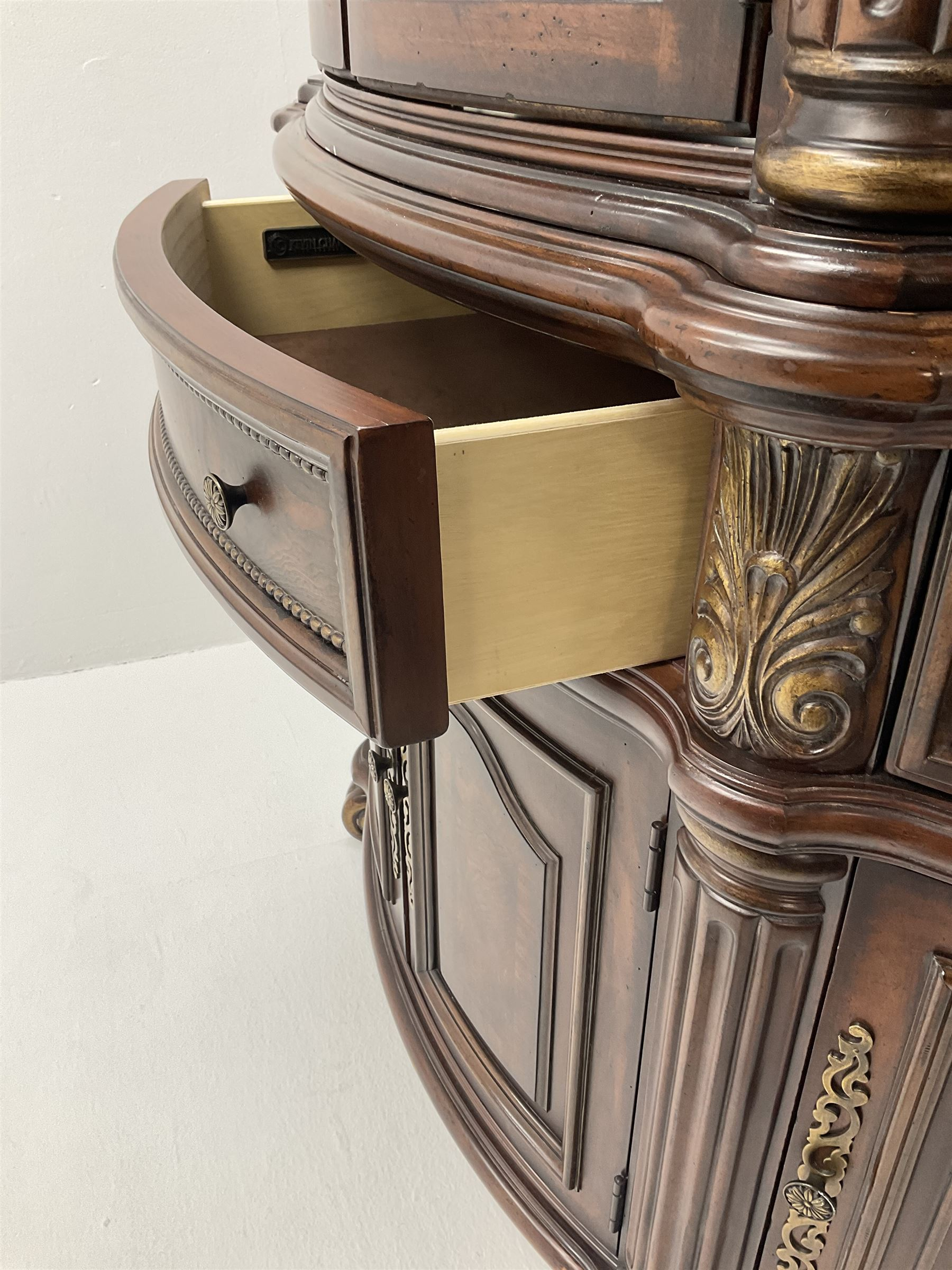 Kevin Charles American walnut demi lune display cabinet with illuminated interior - Image 9 of 13
