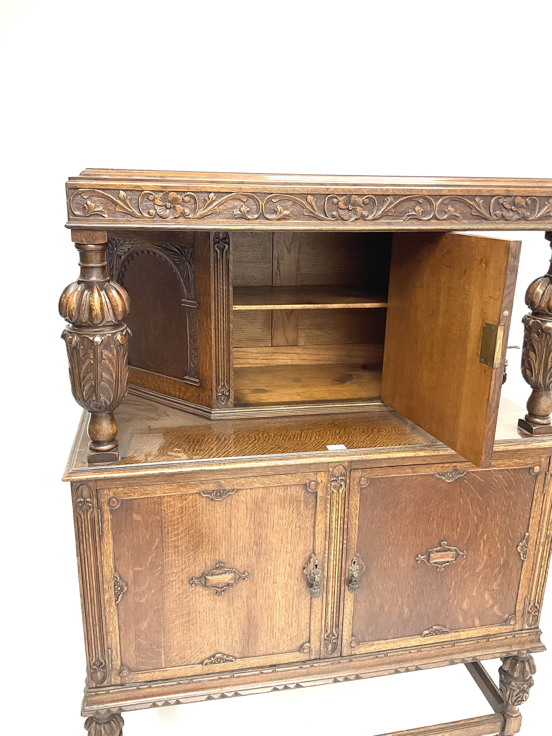Early 20th century carved oak court cupboard fitted with single cupboard above double cupboard doors - Image 3 of 4
