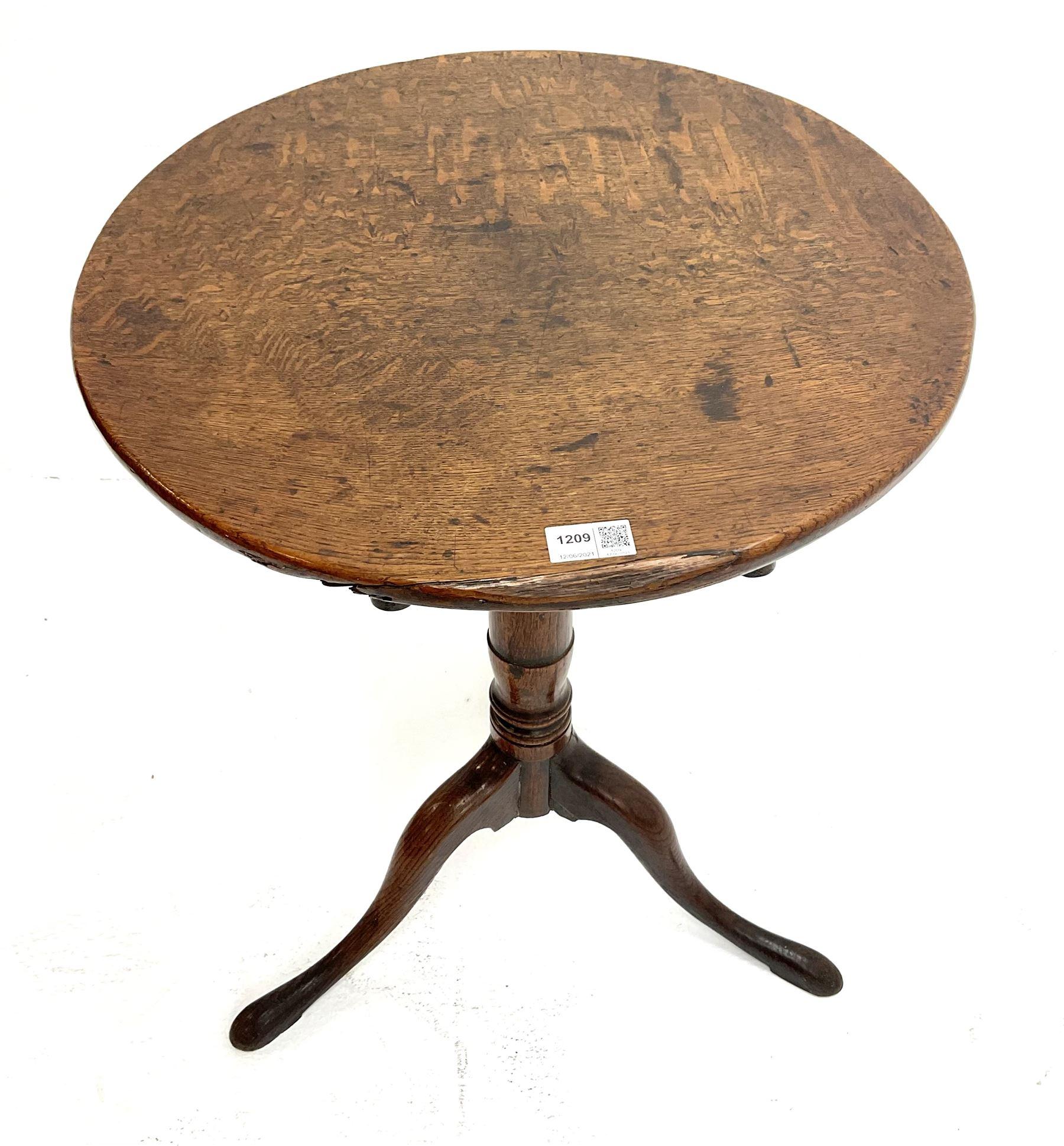 Georgian country oak tripod table - Image 2 of 3