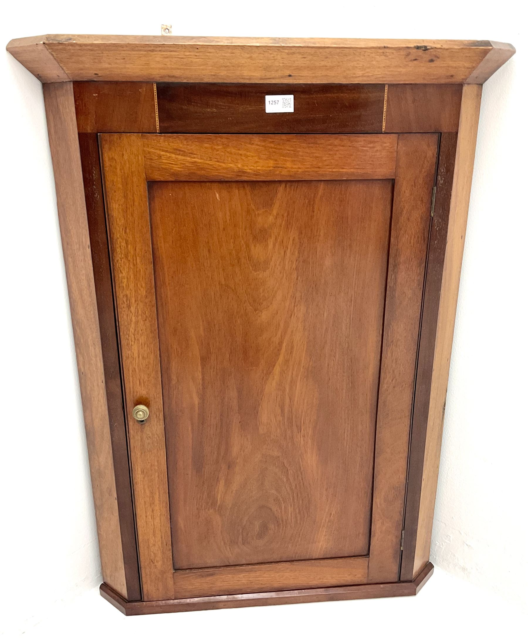 19th century inlaid mahogany corner wall cupboard - Image 2 of 2