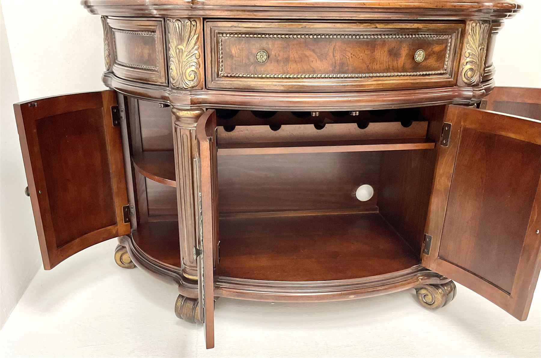 Kevin Charles American walnut demi lune display cabinet with illuminated interior - Image 5 of 13