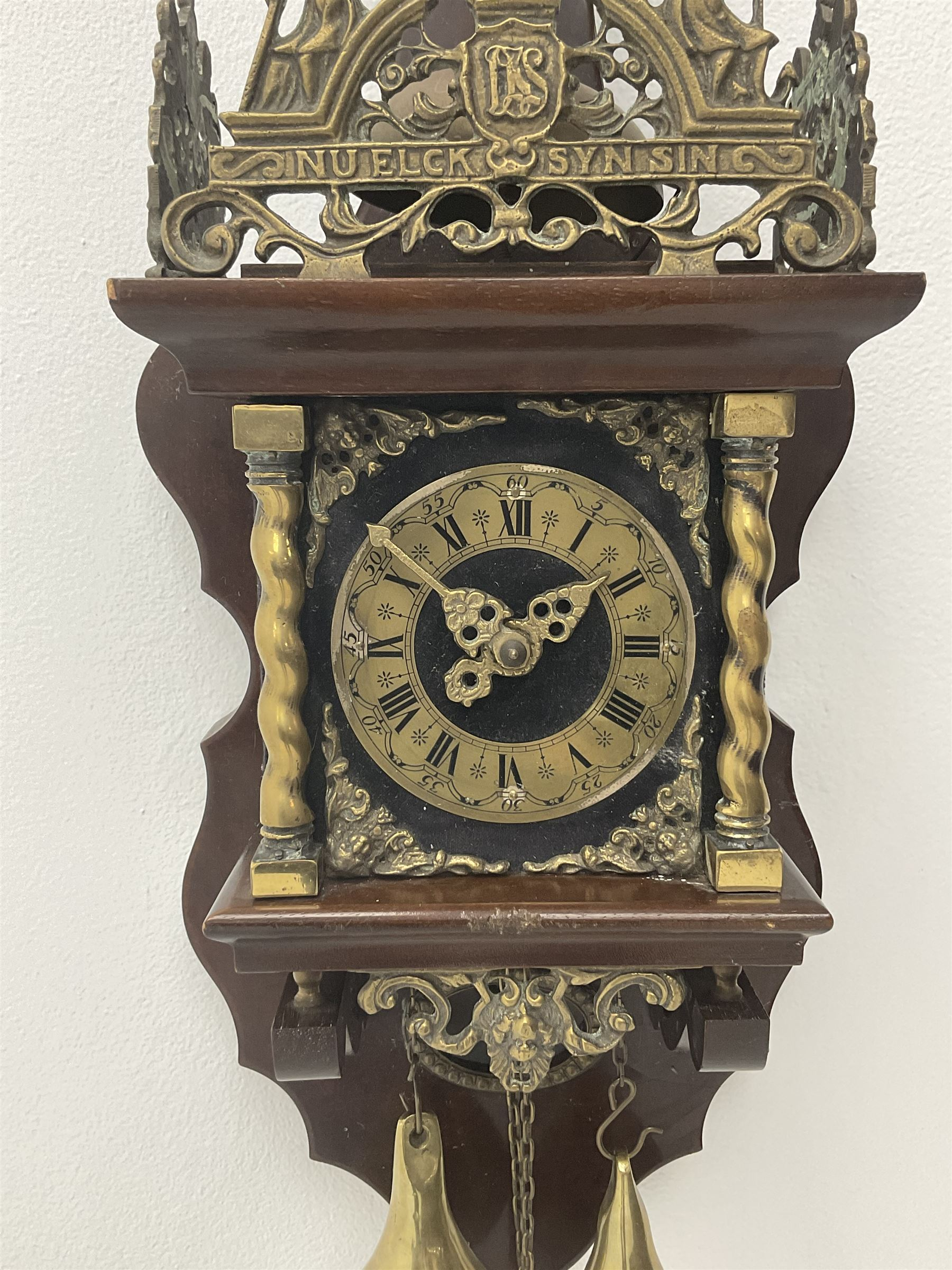 Late 20th century Dutch style figural wall clock in walnut case - Image 3 of 4