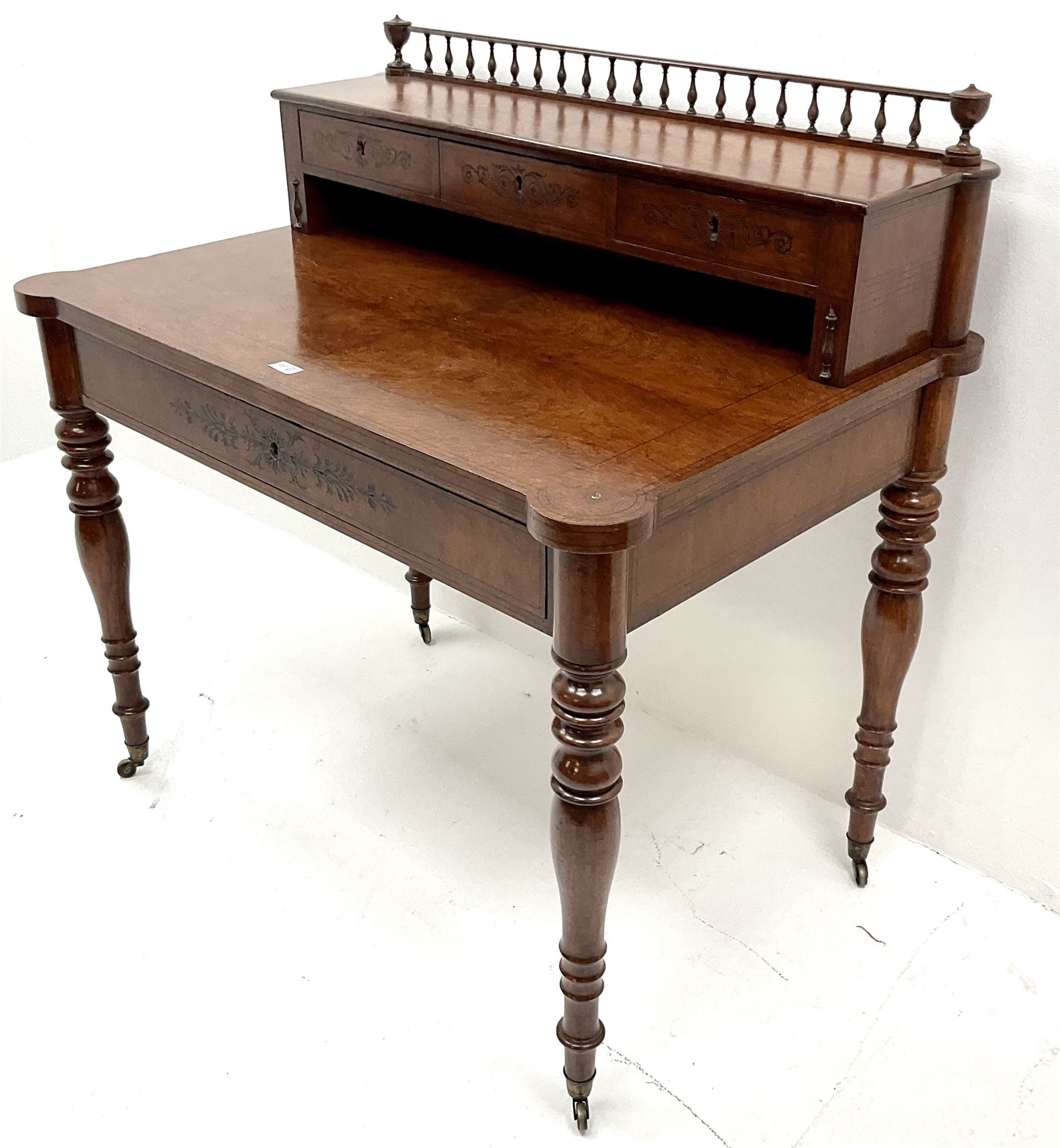 19th century inlaid grained oak writing desk - Image 2 of 4