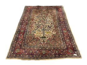 Persian ivory and red ground Tree of Life rug