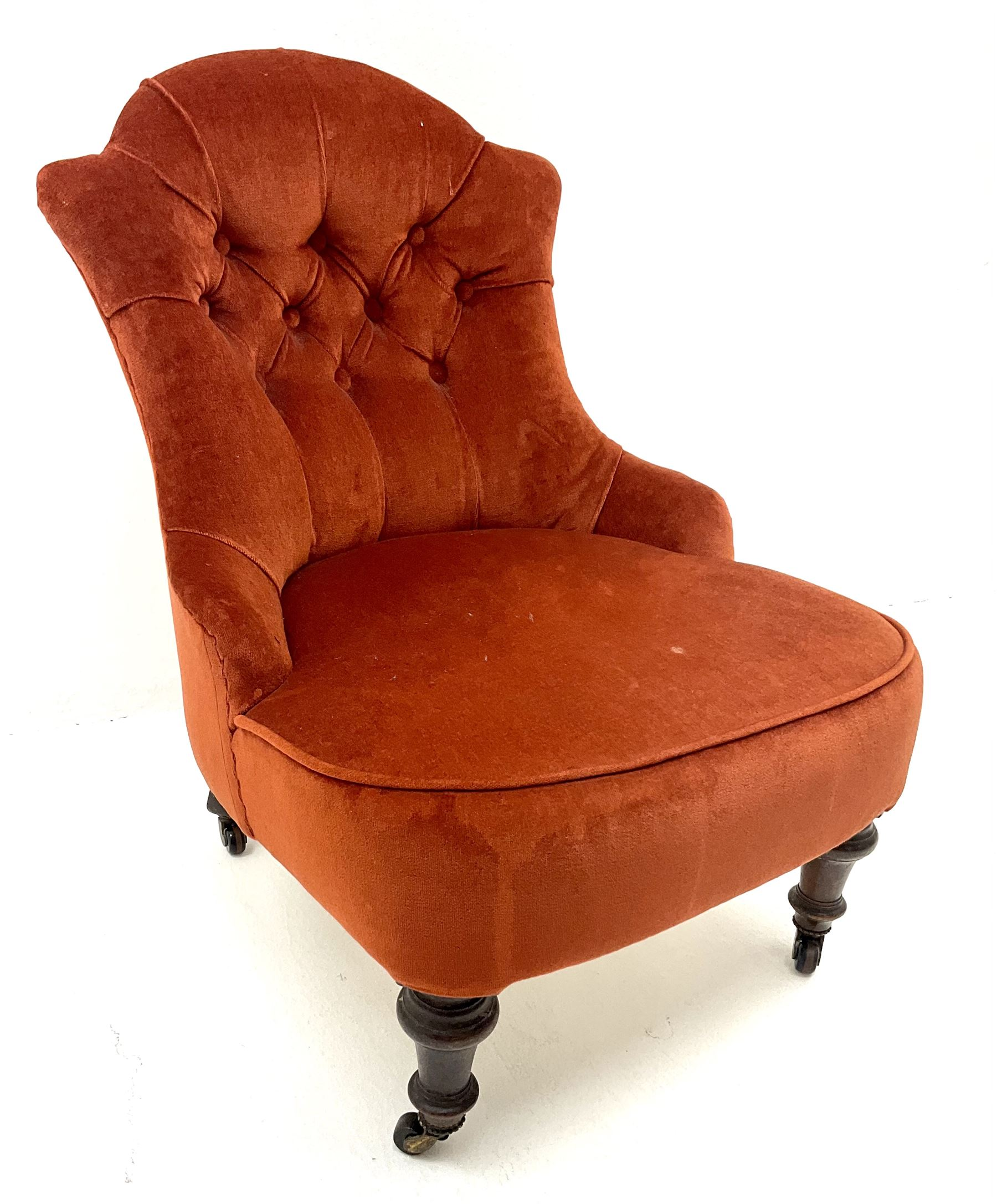 Victorian nursing chair upholstered in a buttoned terracotta fabric - Image 3 of 3