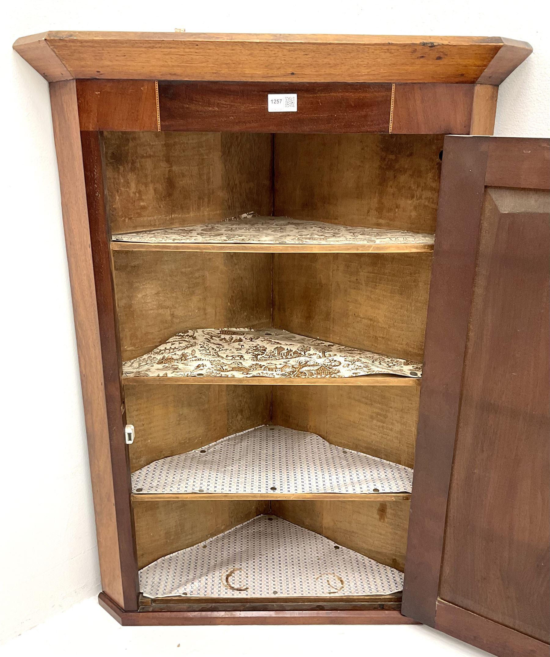 19th century inlaid mahogany corner wall cupboard