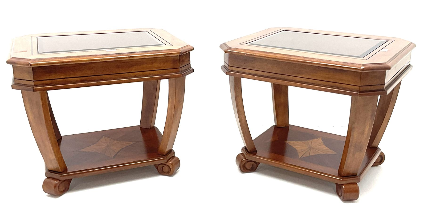 Pair walnut rectangular two tier lamp tables with inset glass tops - Image 2 of 4