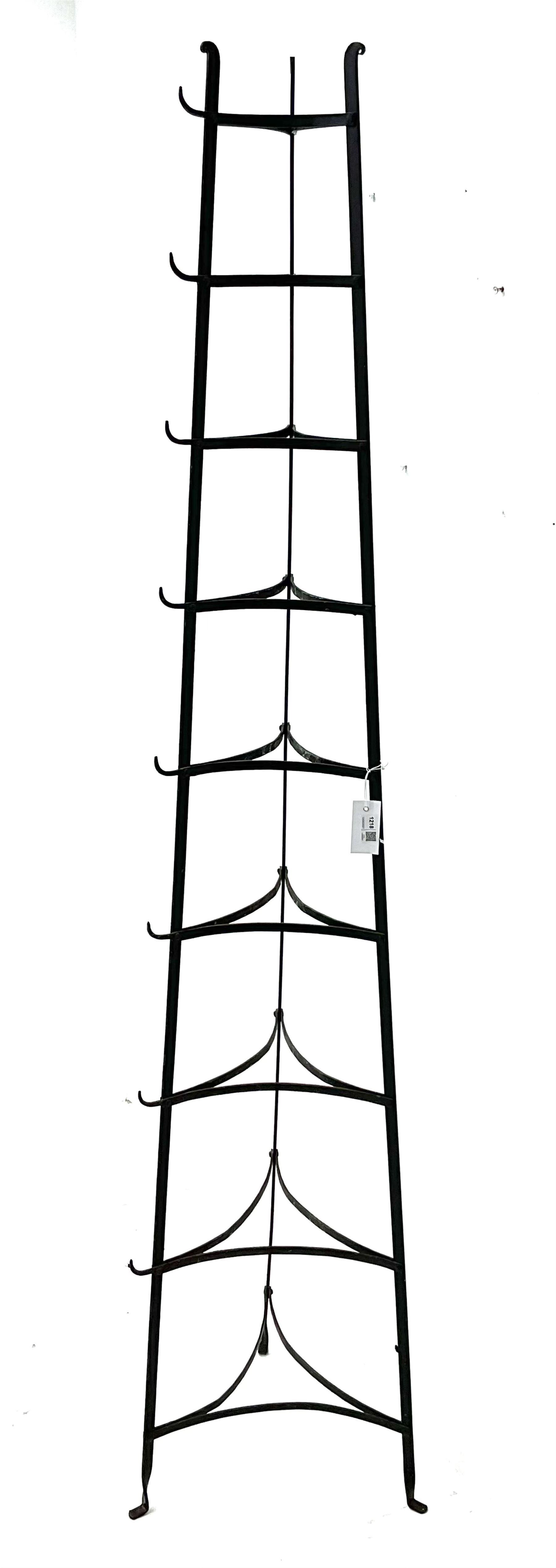 20th century black painted metal nine tier pan stand - Image 2 of 2