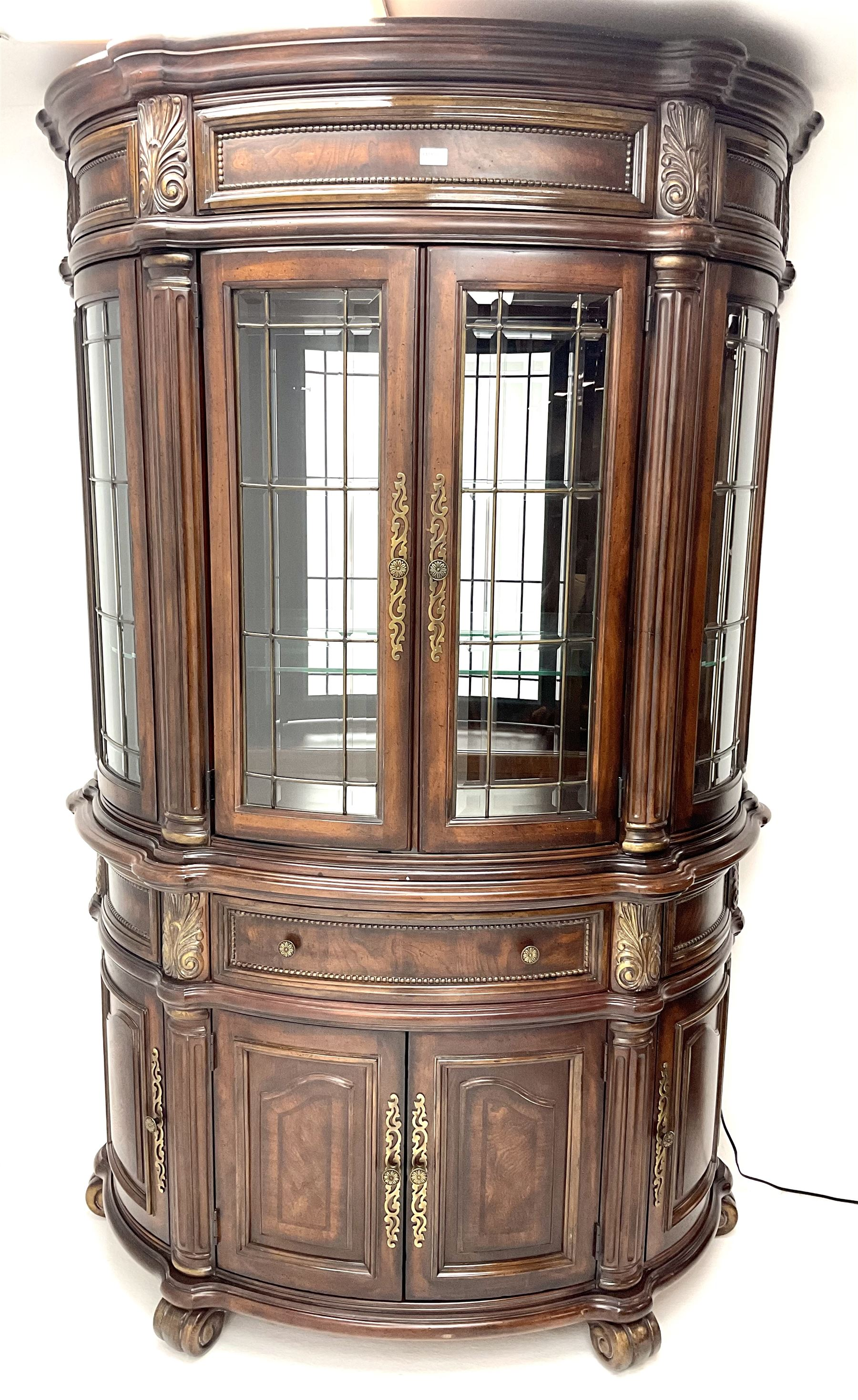 Kevin Charles American walnut demi lune display cabinet with illuminated interior