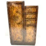 Early 20th century figured walnut Art Deco tallboy