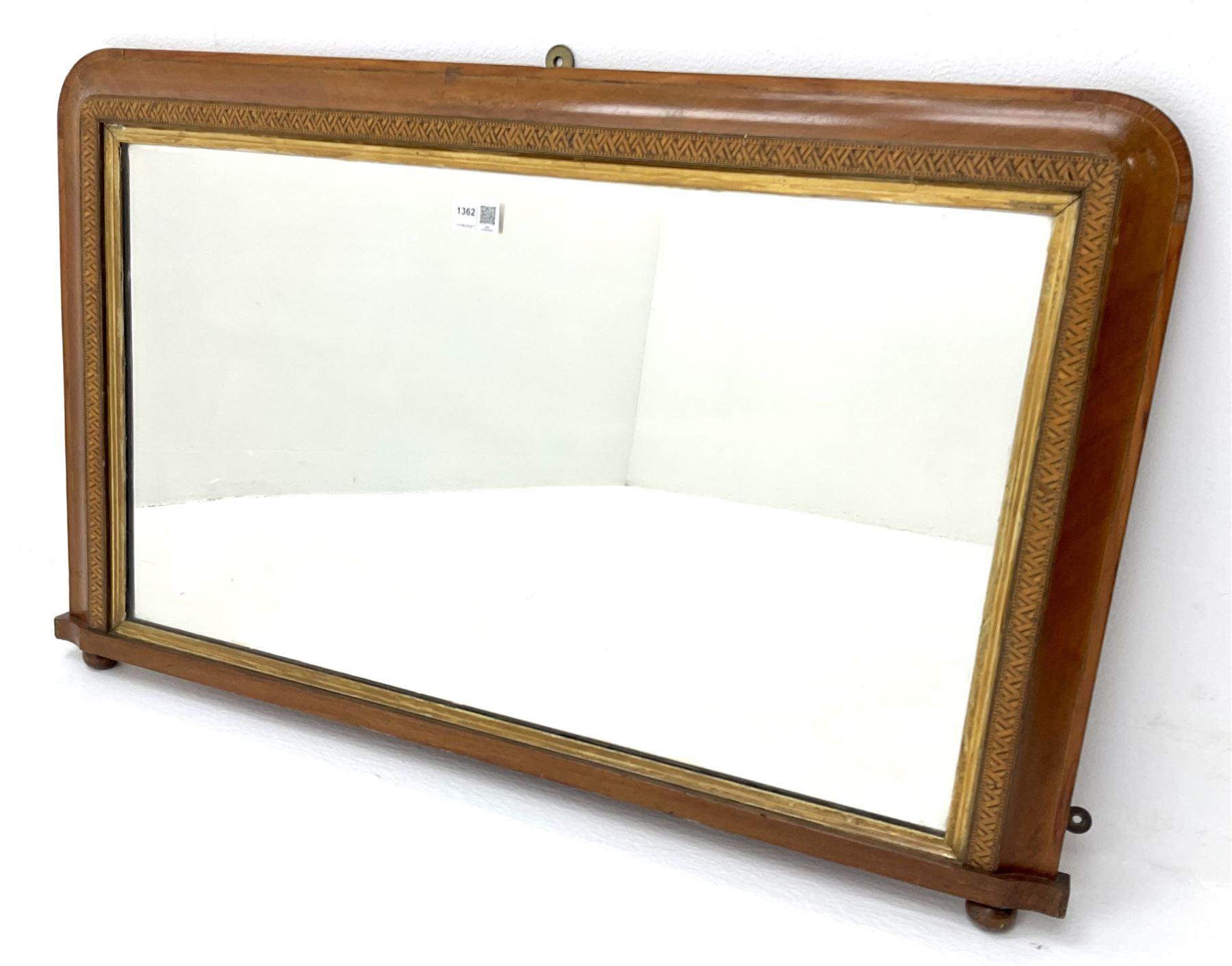 Victorian inlaid walnut framed Tunbridge Ware overmantle mirror