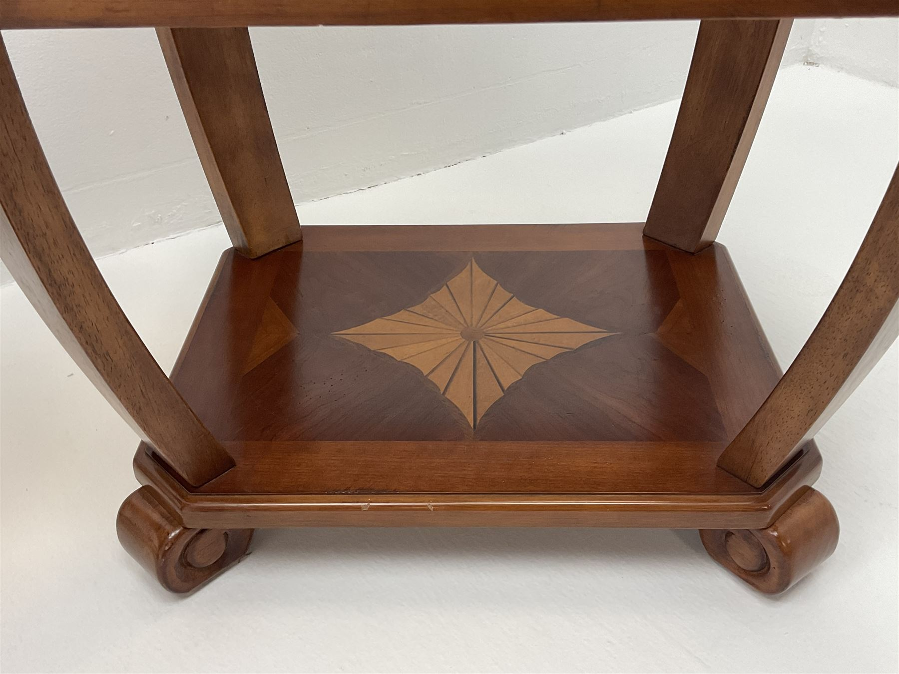 Pair walnut rectangular two tier lamp tables with inset glass tops - Image 4 of 4