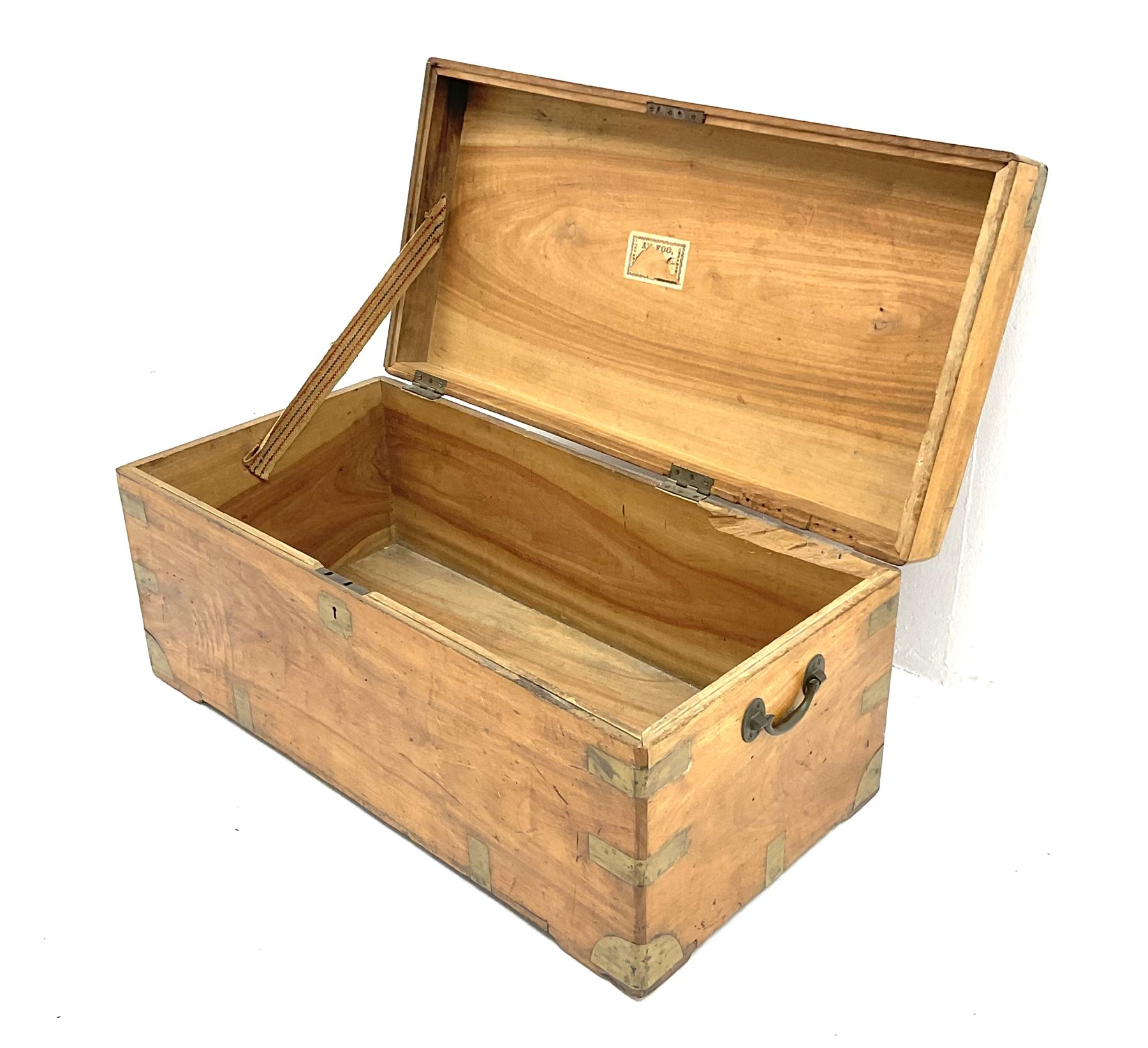 Early 20th century brass bound camphor wood campaign style chest - Image 2 of 3