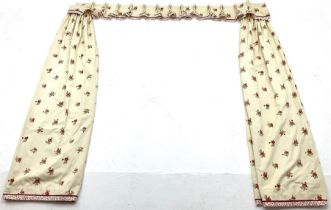 Pair lined curtains with floral field with pelmet and tie backs (W190cm