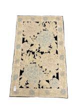 Kashmiri hand stick wool chain ivory ground rug