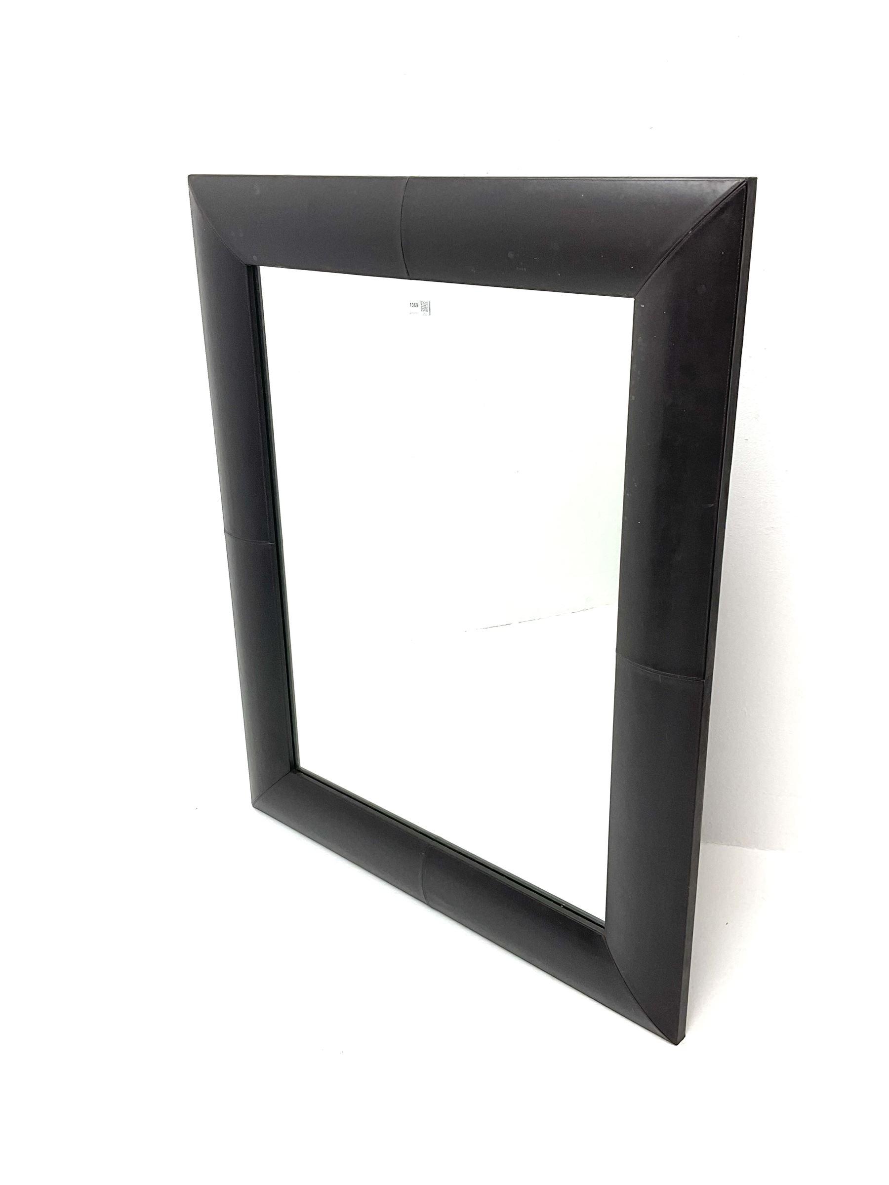 Rectangular leather framed mirror