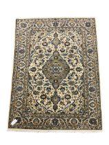 Fine Kashan ivory ground rug