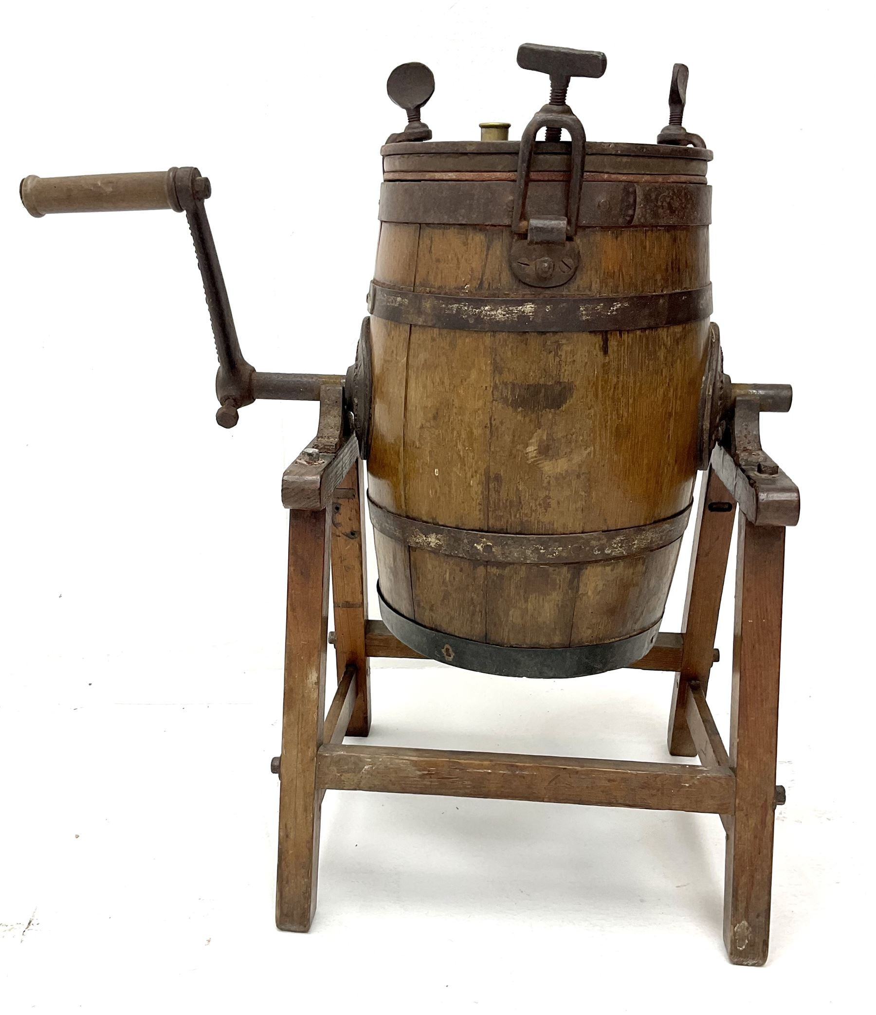 Victorian coopered oak table top butter churn on stand - Image 3 of 4