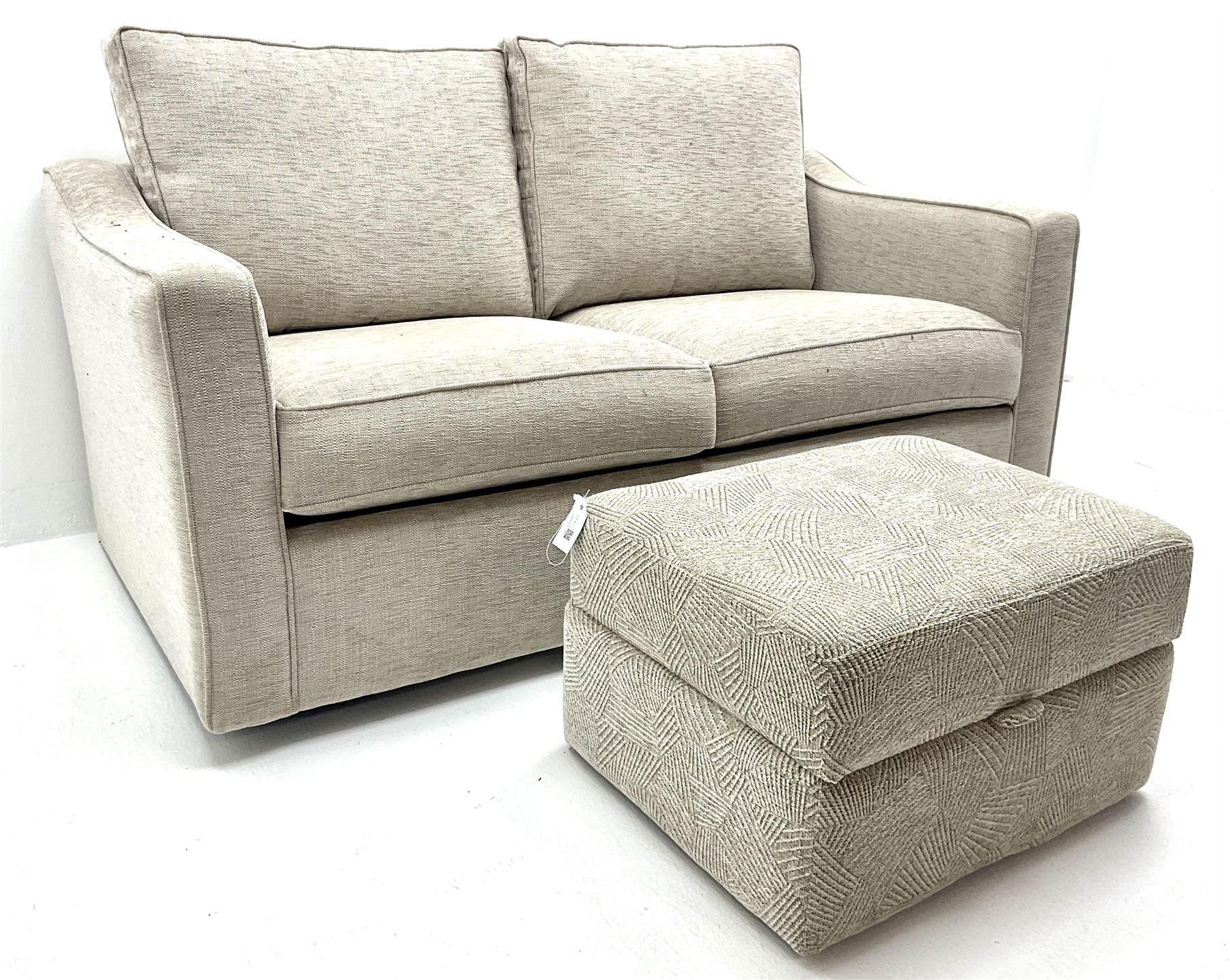 Two seat metal action sofa bed upholstered in a neutral fabric (W157cm) with storage stool (2) - Image 2 of 3