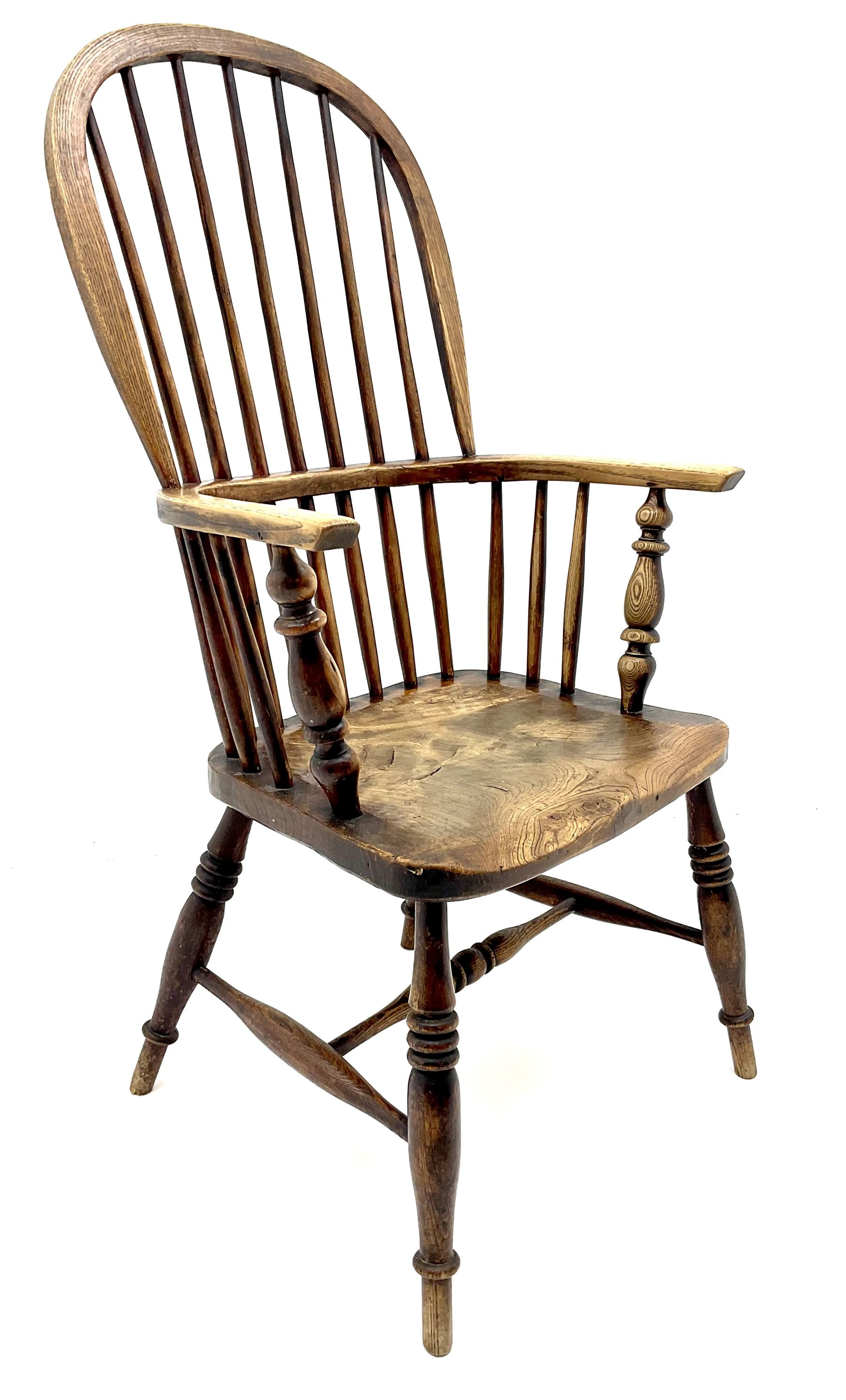 19th century ash and elm high back Windsor chair - Image 2 of 3