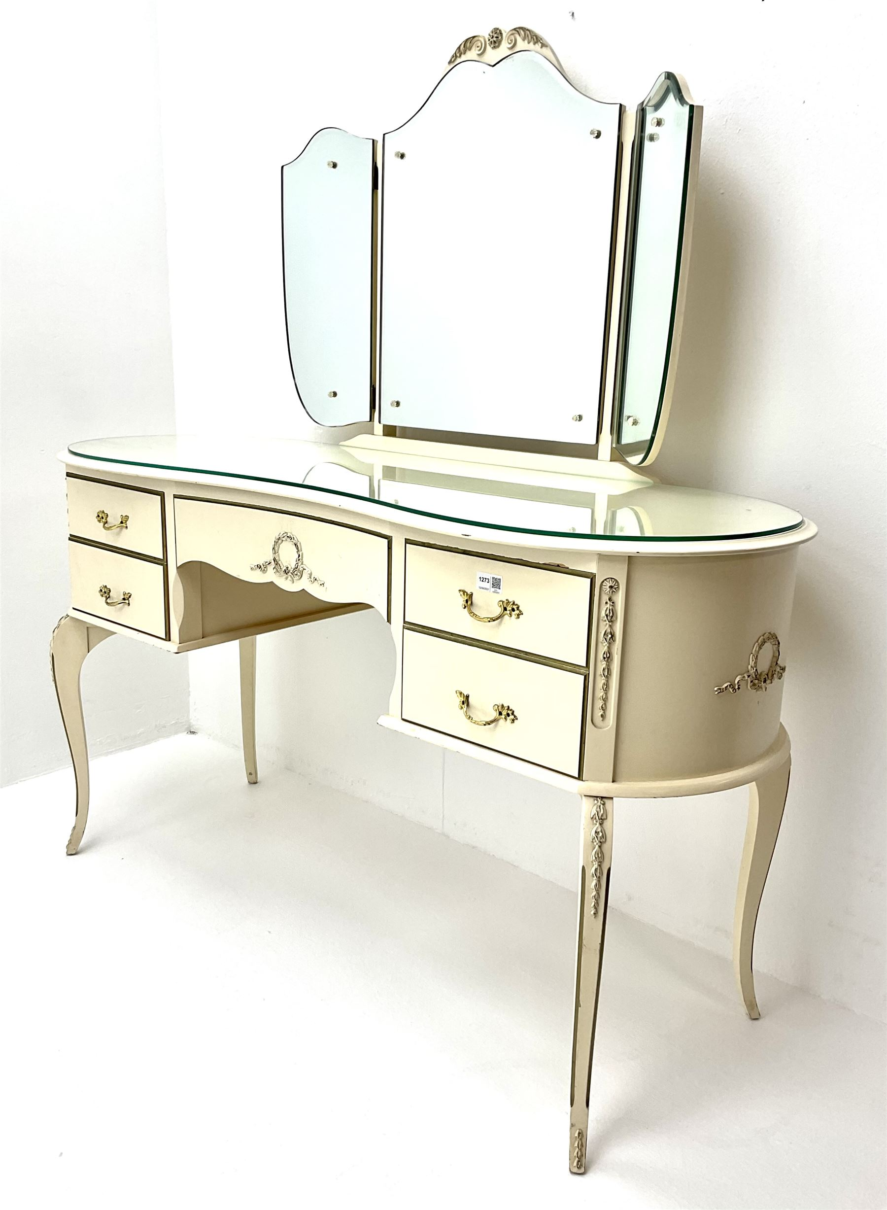 French style cream and gilt kidney shaped dressing table with Teri ole mirror - Image 2 of 3
