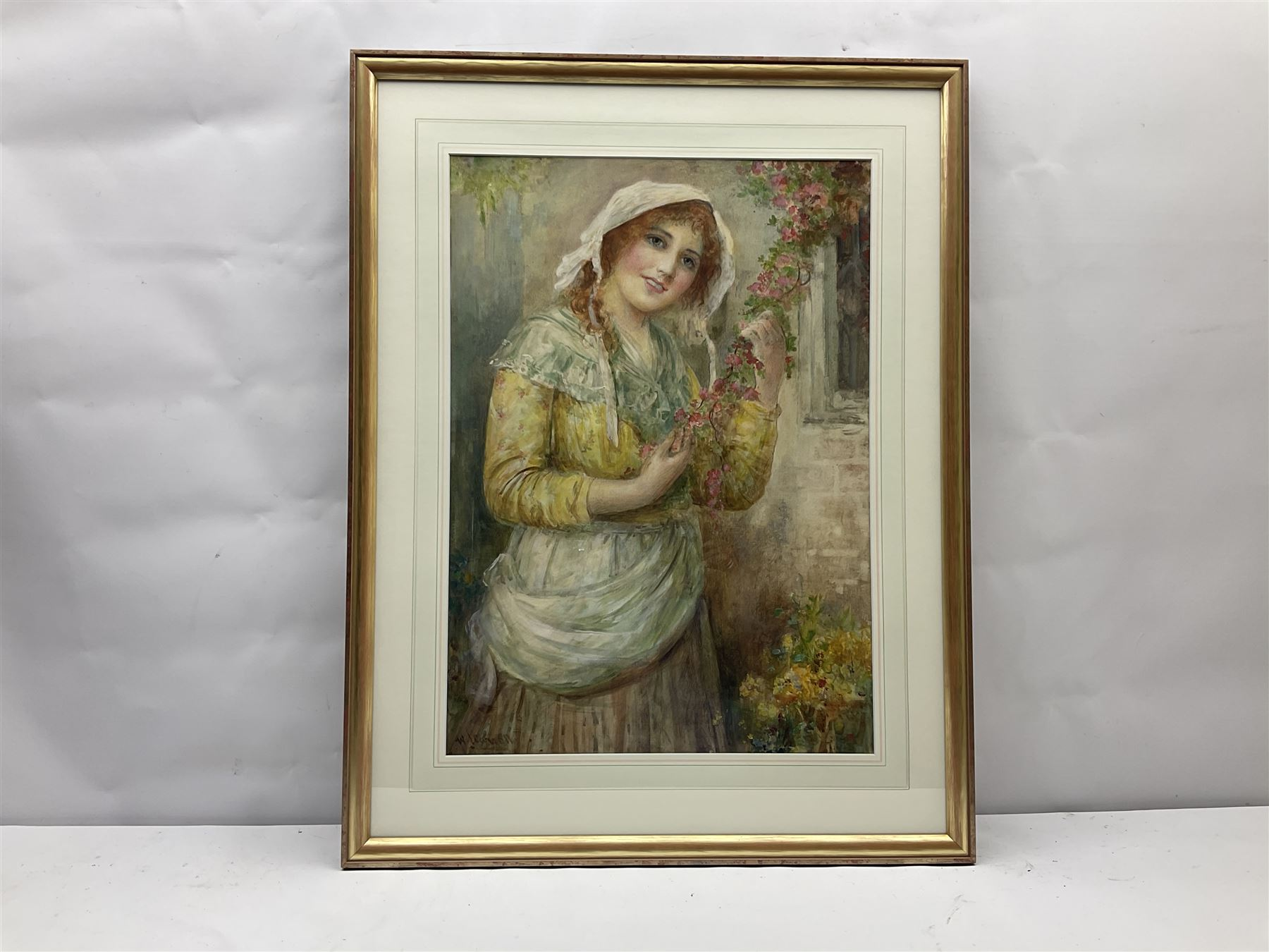 William Joseph Carroll (19th/20th Century): Country Girl Holding Blossom - Image 2 of 3