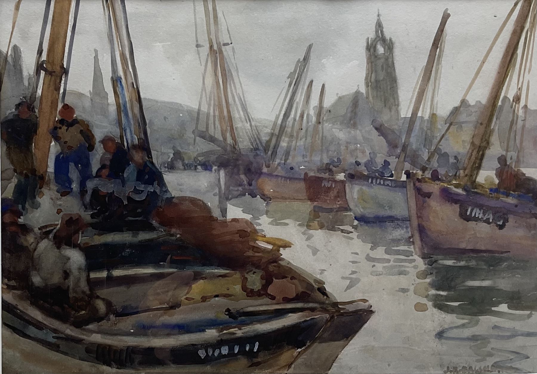Joseph Richard Bagshawe (Staithes Group 1870-1909): Fishing Boats in Tarbert Harbour Argyle