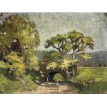 Francis G Wood (British exh.1906-1907): Sunlit Track under Bridge