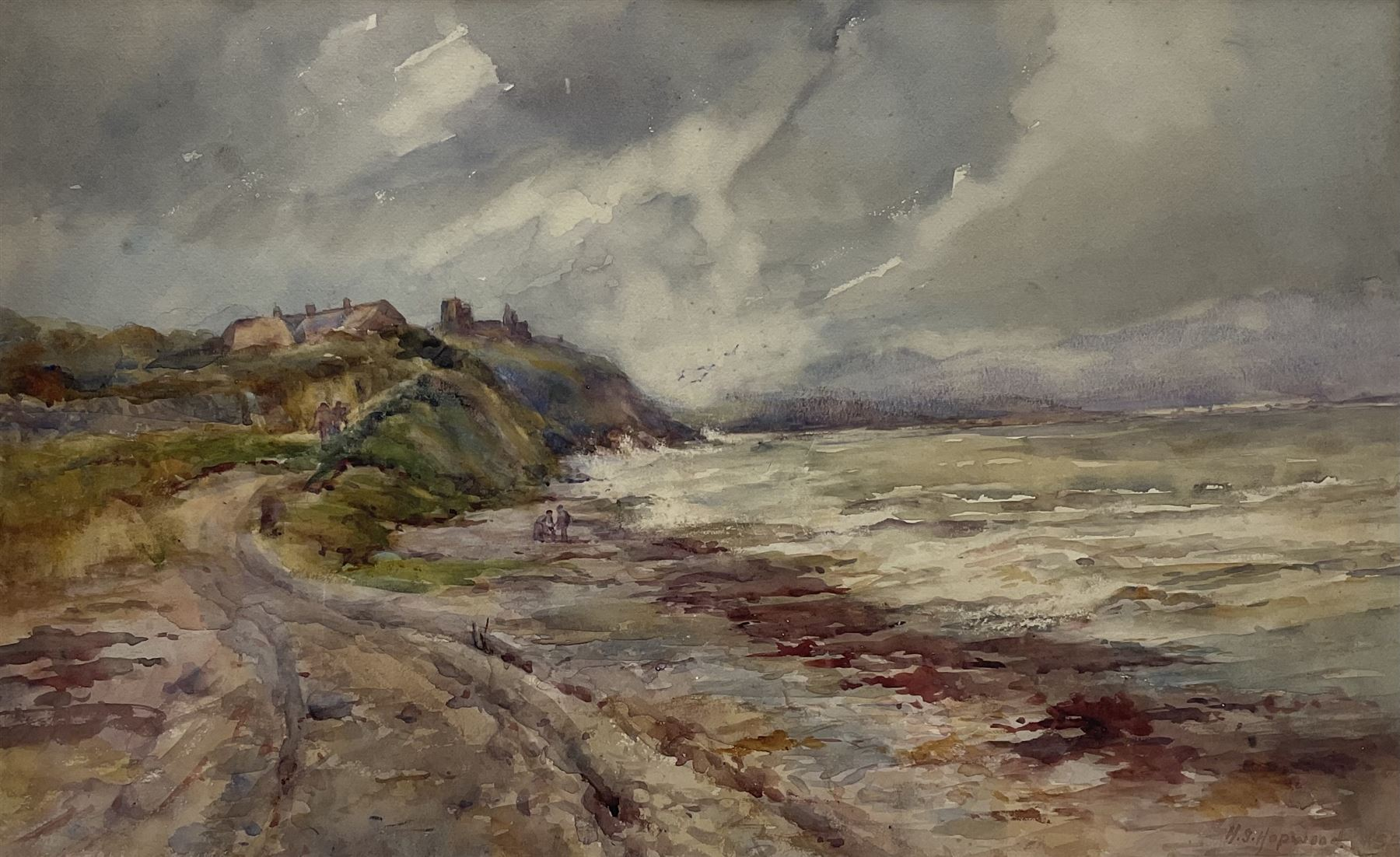 Henry Silkstone Hopwood (Staithes Group 1860-1914): Coastal scene with Figures and Cottages