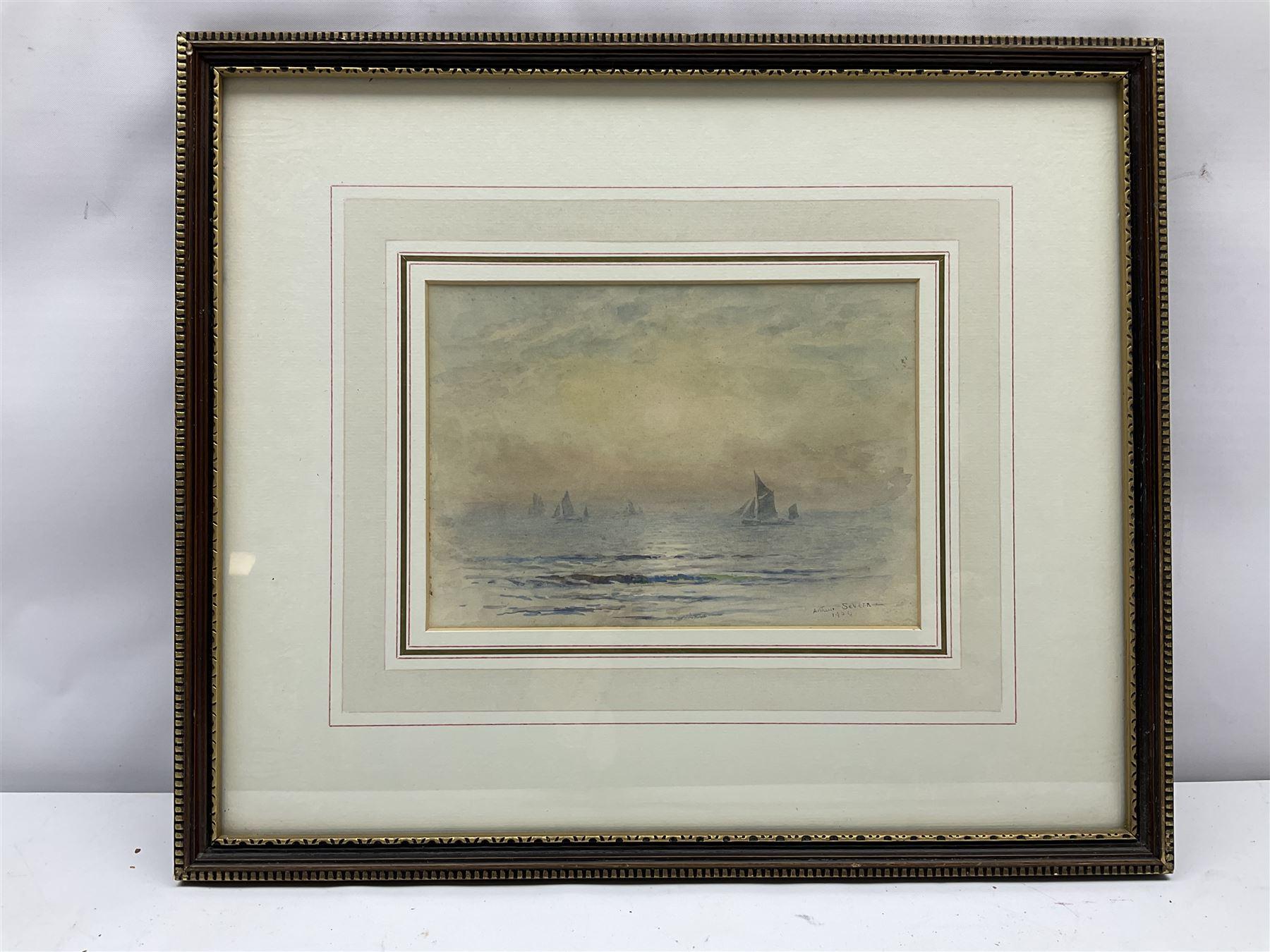 Joseph Arthur Palliser Severn RI ROI (British 1842-1931): Fishing Boats at Sunset - Image 2 of 4