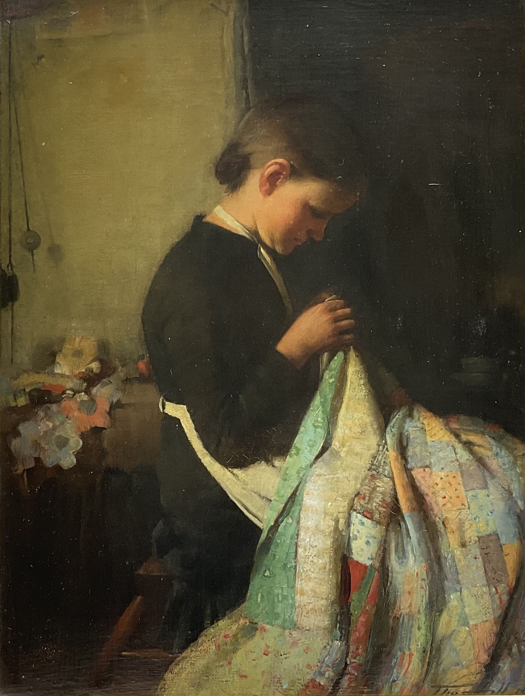 Thomas Hill (British 1852-1926): Young Woman with a Patchwork Quilt