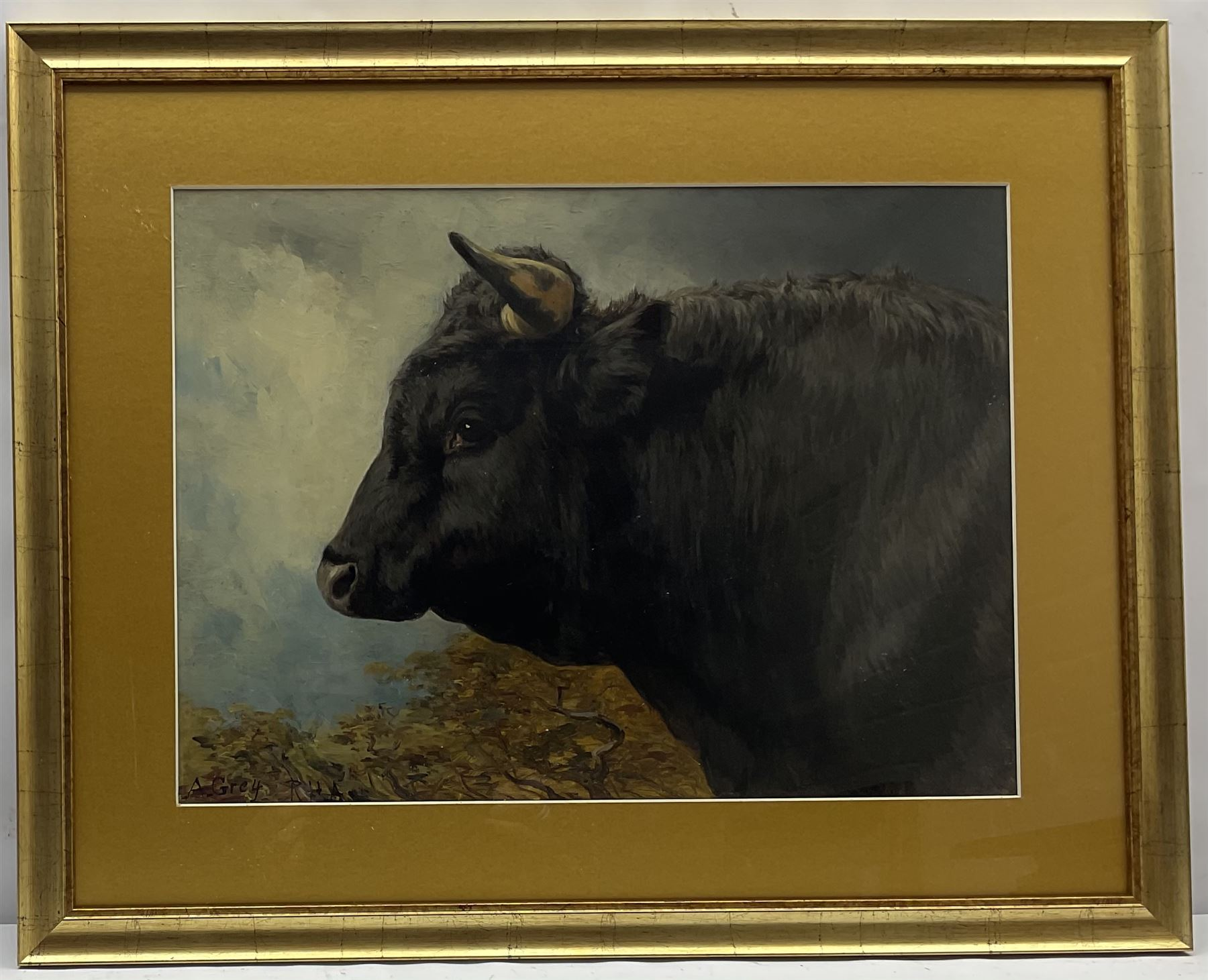 Alfred Grey ARHA (Irish 1845-1926): Study of a Bull's Head - Image 2 of 4