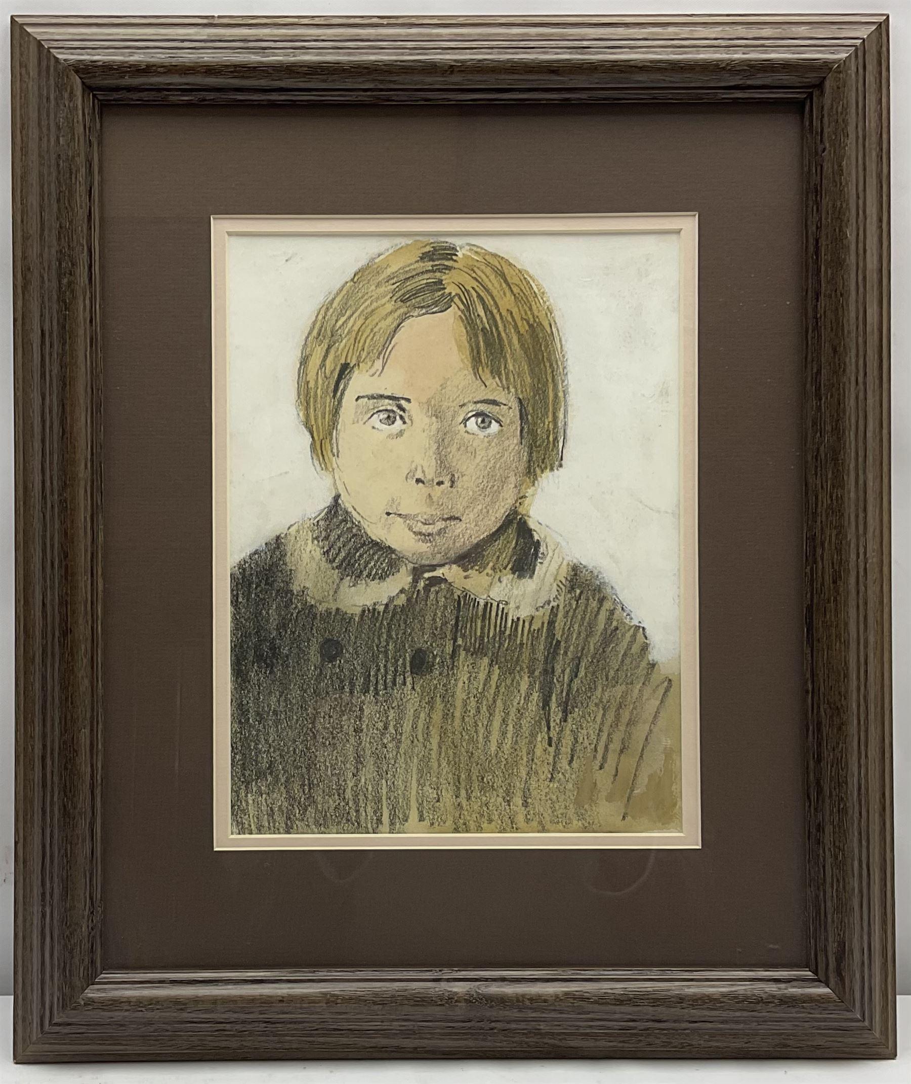 Donald McIntyre (British 1923-2009): 'Blond Boy Wearing Coat' - Image 2 of 3