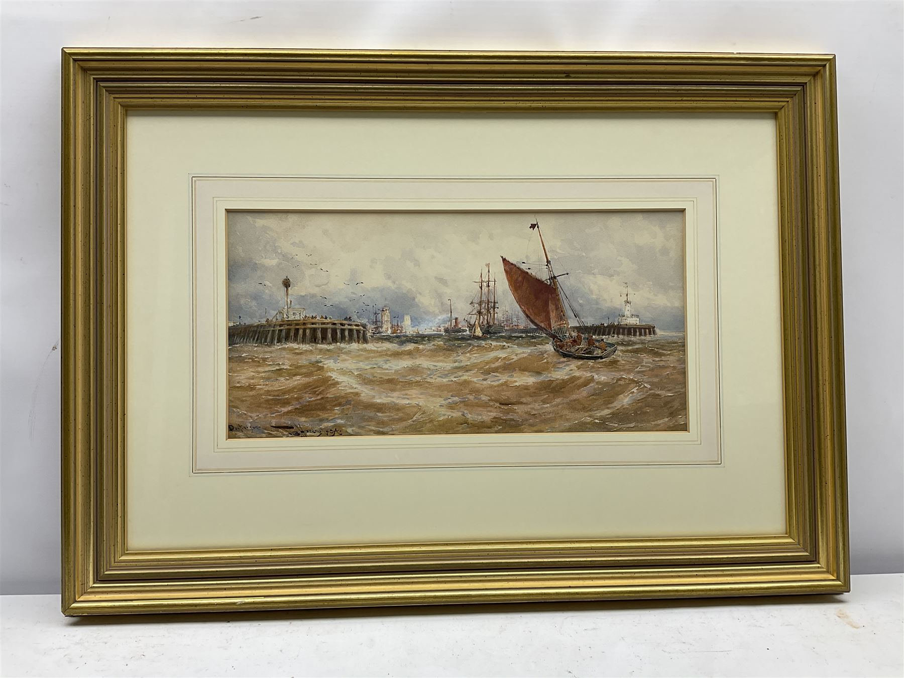 Thomas Bush Hardy RBA (British 1842-1897): 'Dunkerque' Fishing Boats returning to Harbour - Image 2 of 4