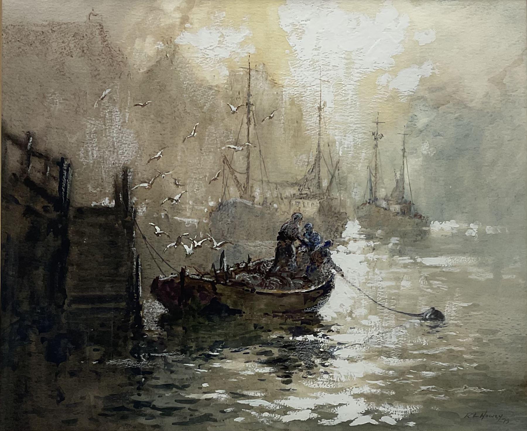 Robert Leslie Howey (British 1900-1981): Early Morning Whitby Harbour