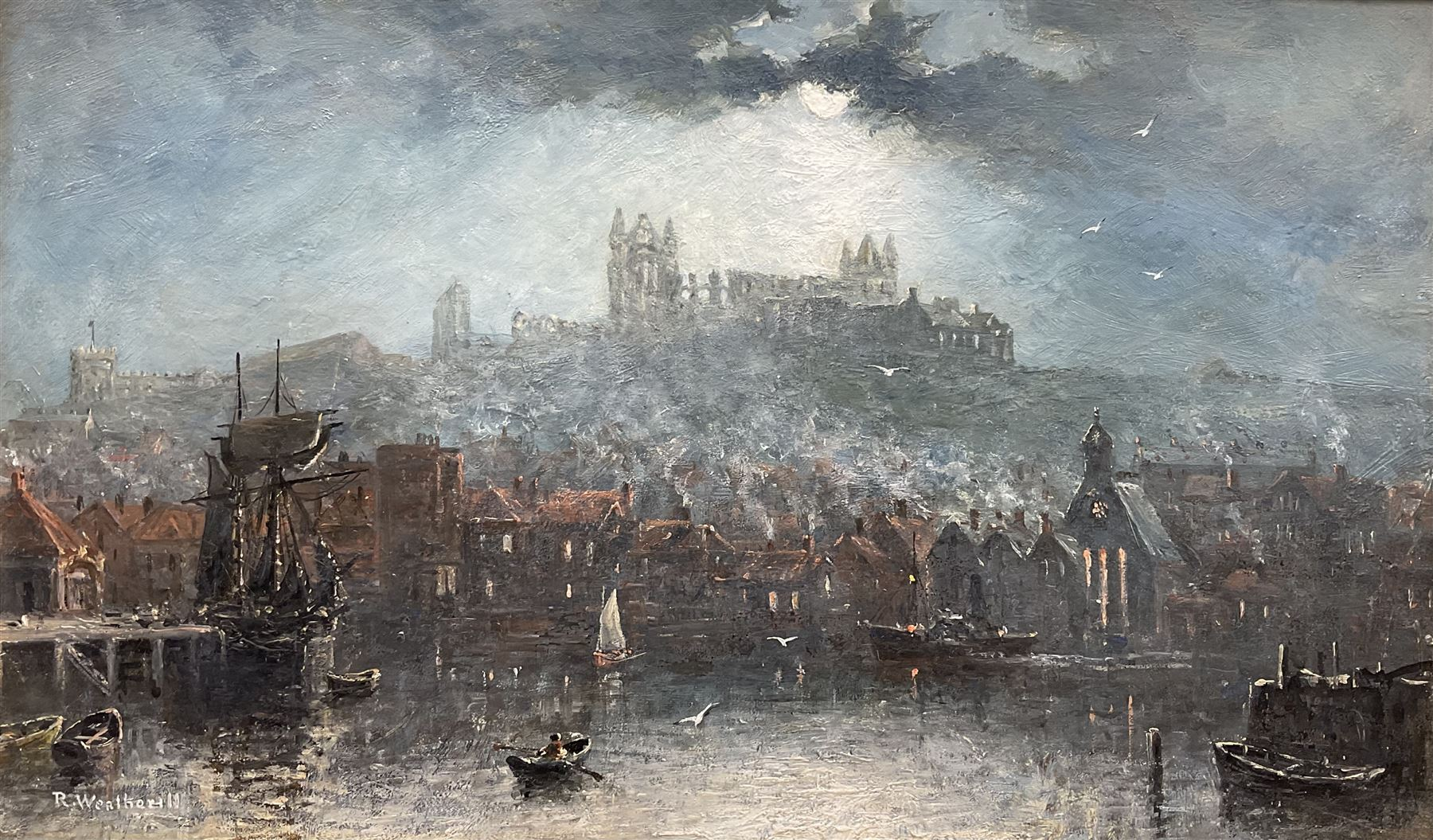 Richard Weatherill (British 1844-1913): Whitby Harbour and Abbey by Moonlight
