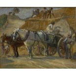 English School (Early 20th century): Workmen with Horses and Carts Quarrying Stone