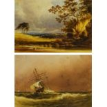 A V Copley Fielding (British 1787-1855): Land and Seascape