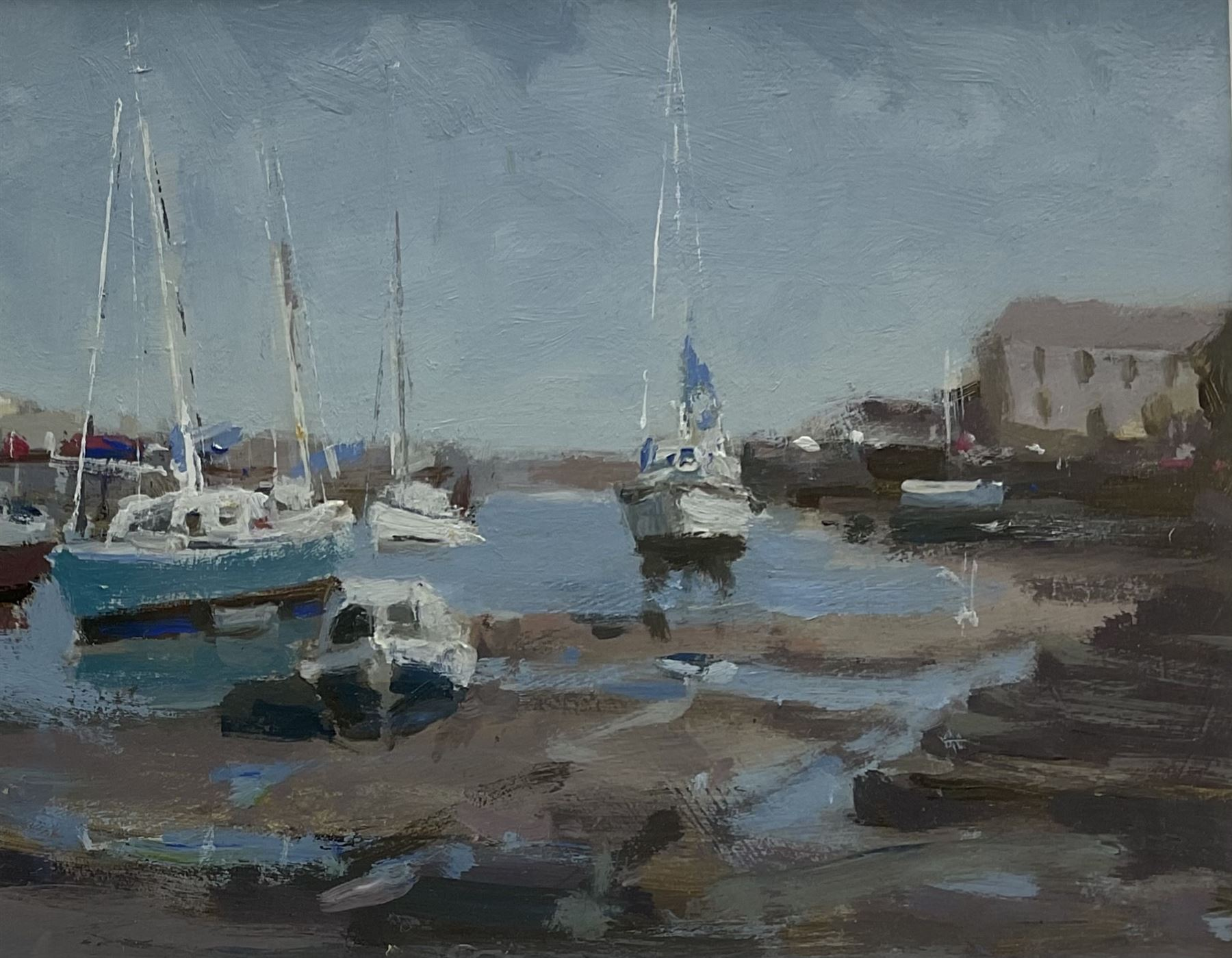 John Boyce (British 1938-): Yachts in the Harbour at Low Tide