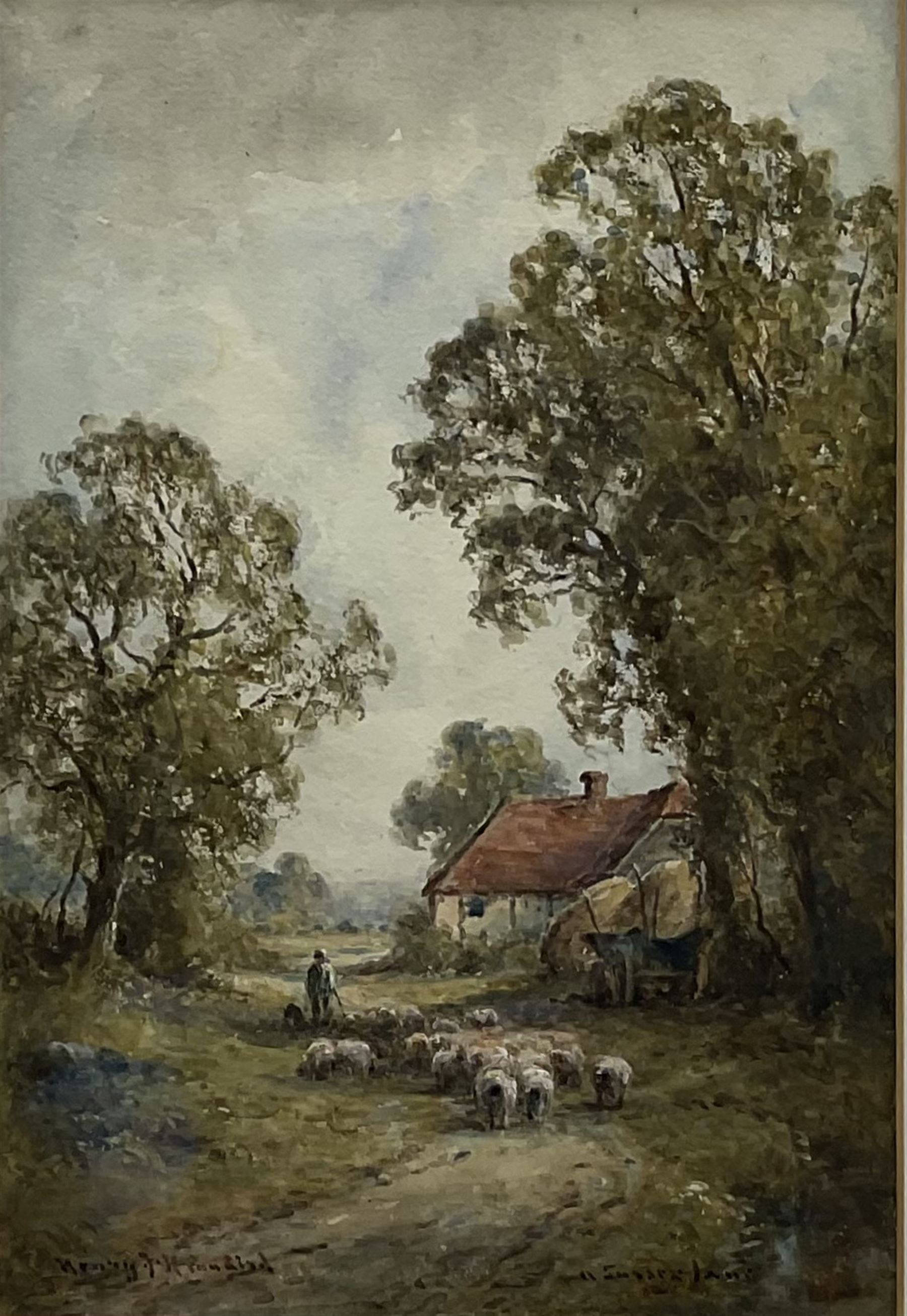 Henry J Kinnaird (British fl.1880-1920): 'Old Mill Winchester' and 'A Sussex Lane' - Image 4 of 7