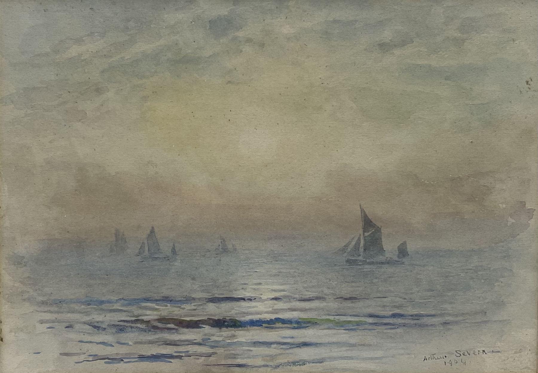 Joseph Arthur Palliser Severn RI ROI (British 1842-1931): Fishing Boats at Sunset