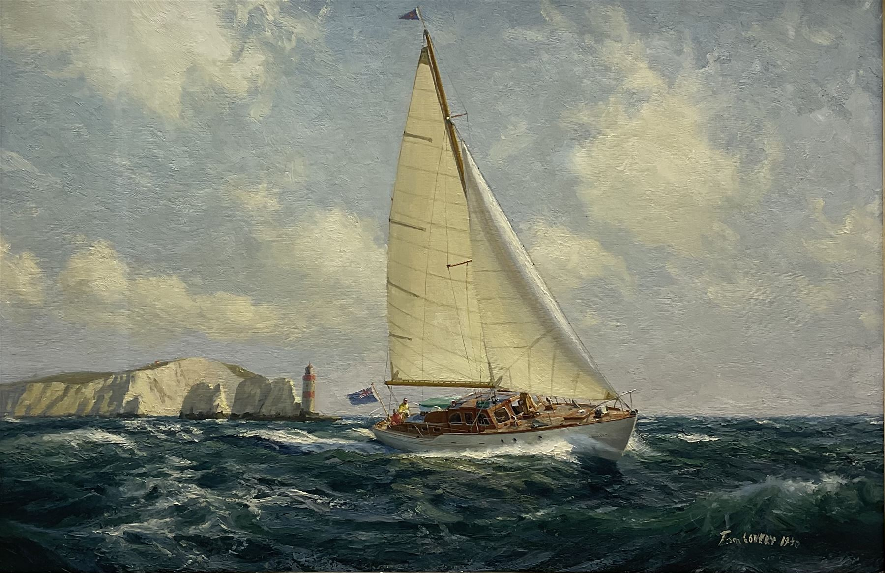 Tom Lowery (20th century): Racing Yacht 'Phylene' off the Needles Isle of Wight
