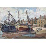 Hurst Balmford (British 1871-1950): 'St. Ives - Fishing Boats on the Wharf'