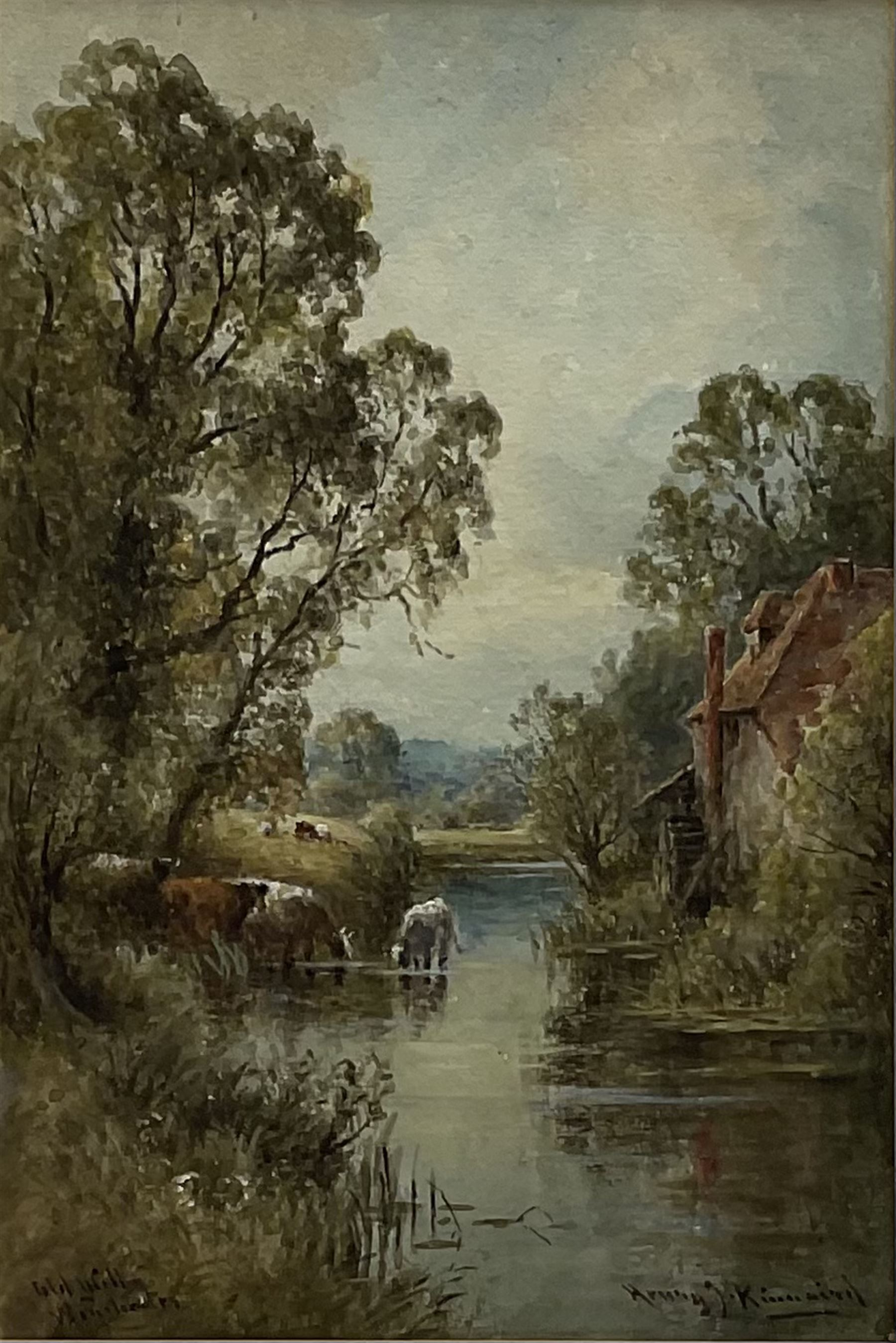 Henry J Kinnaird (British fl.1880-1920): 'Old Mill Winchester' and 'A Sussex Lane' - Image 7 of 7